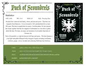 Grimm Bros - Scoundrels Sales Sheet