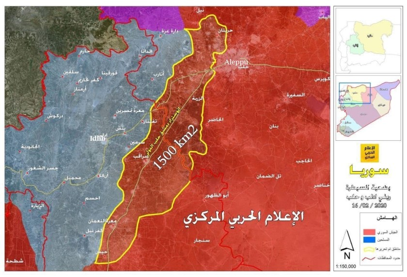 A situazione in a regione d'Idlib u 23 di ferraghju di u 2020 Rossu = Armata siriana / Turchinu = ribelli Fonte : Syriancivilwarmap