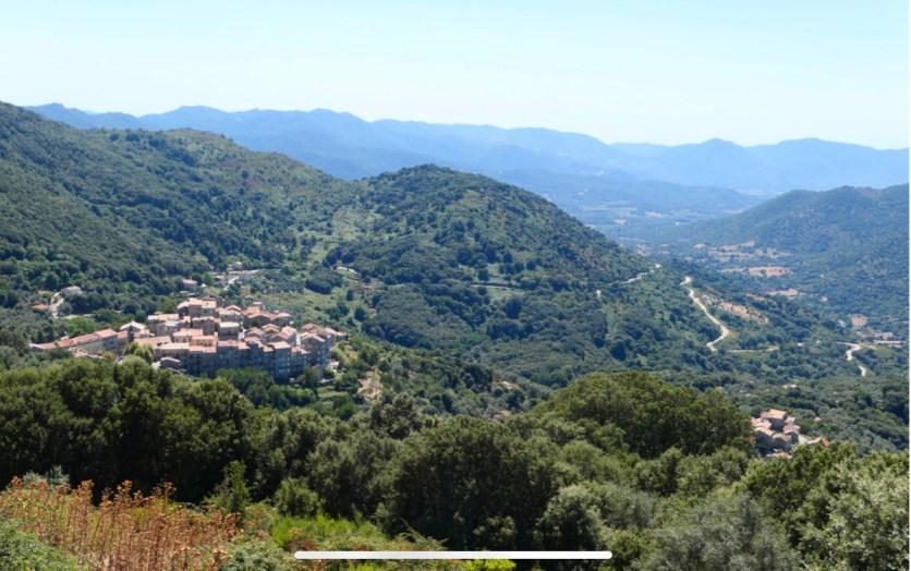 Ortu è aliveri in Santa-Lucia di Tallà, vista di u paesu incù u vaddu di u Rizzanesi - TranshumansAltaRocca 2020.