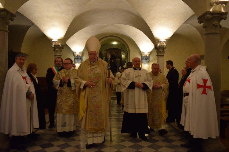 Templari Cattolici d'Italia alle celebrazioni per la festività di San Colombano patrono di Bobbio, Piacenza.