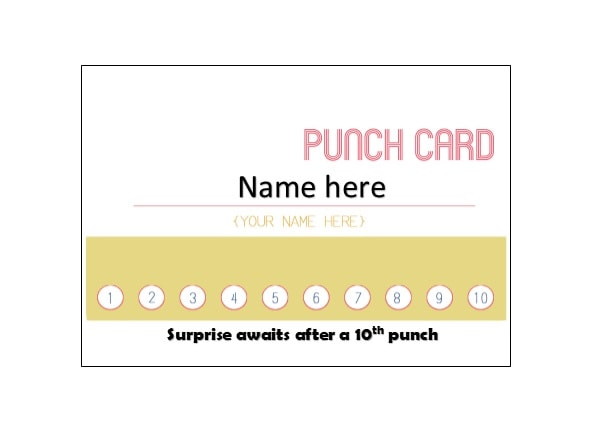 Punch Card Template Poemviewco - Reward punch card template