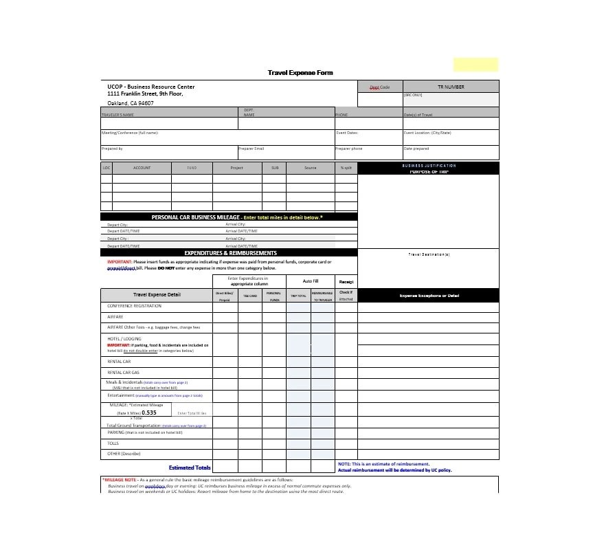 46 Travel Expense Report Forms Templates Template Archive
