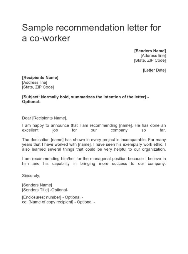 5 Letter Of Recommendation For Coworker Examples - TemplateArchive