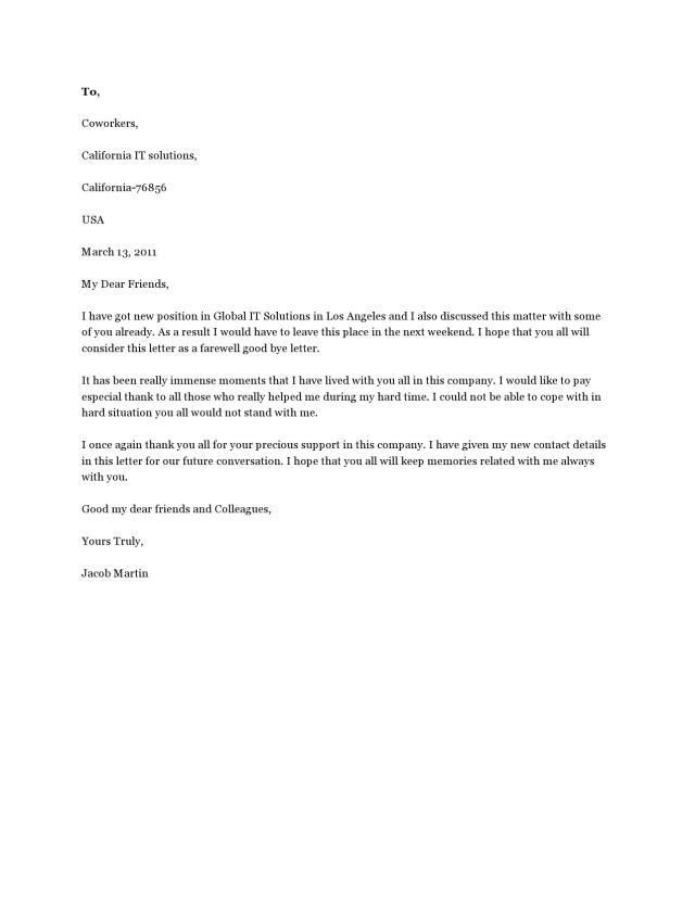 7 Perfect Farewell Letters (to Boss or Colleagues) - TemplateArchive