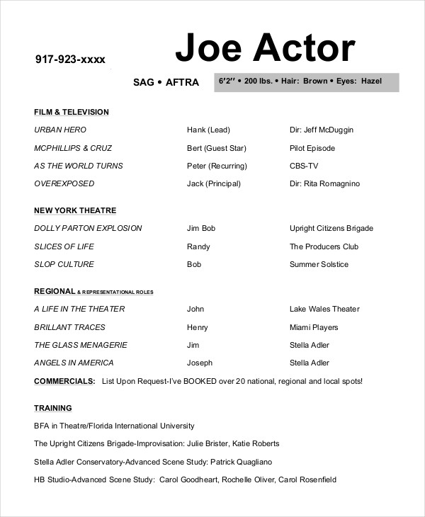 Free Actor Resume Template And How To Write Yours Properly  How To Write A Theatre Resume