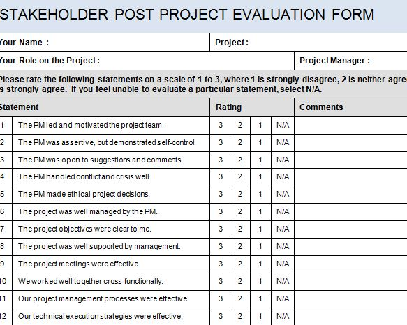 Project Evaluation Form Templates Project Evaluation Template