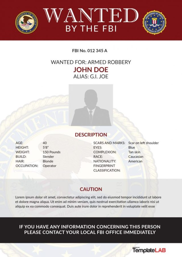 Modern Wanted Poster Template Free Download