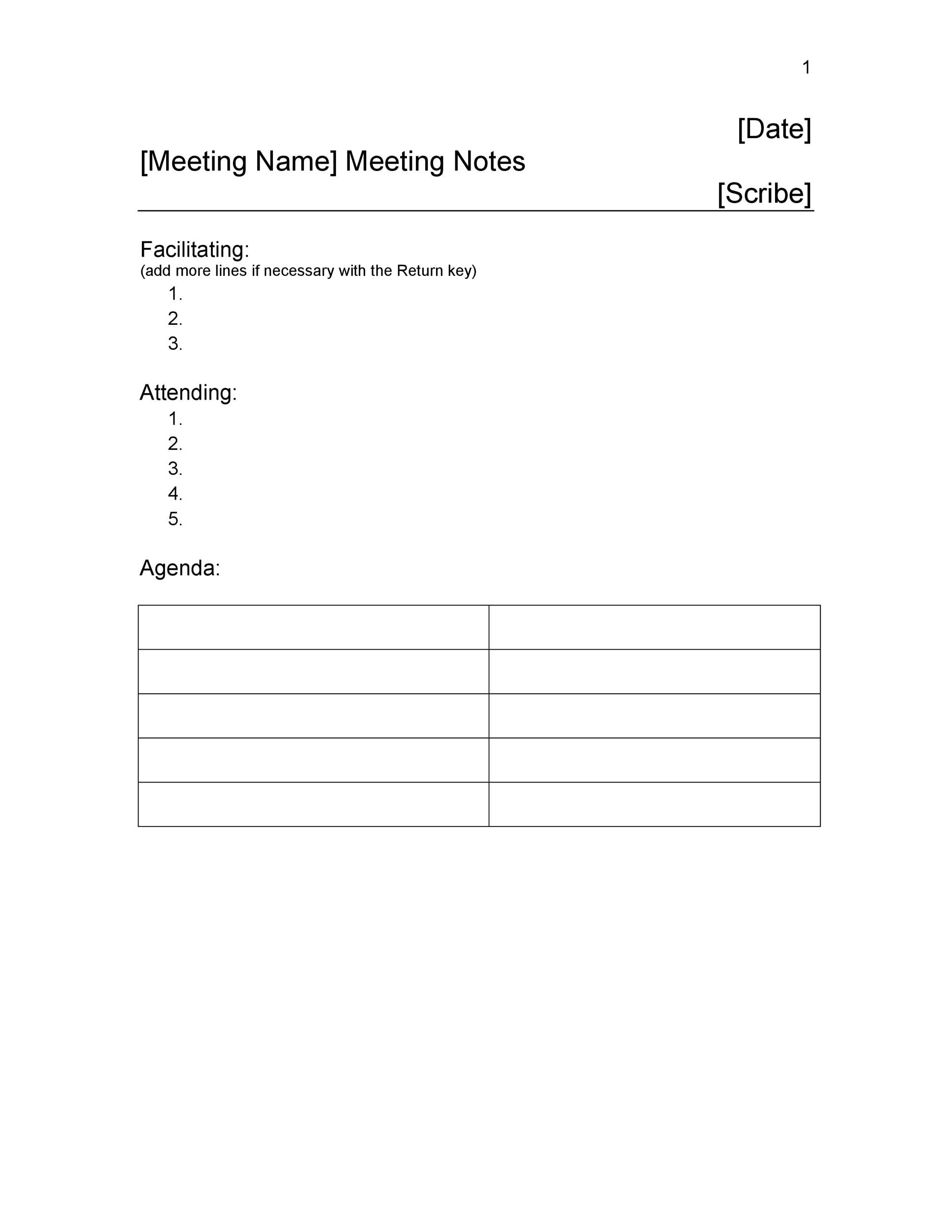 Doc485611 Minute Notes Template 20 Handy Meeting Minutes – Minutes Notes Template