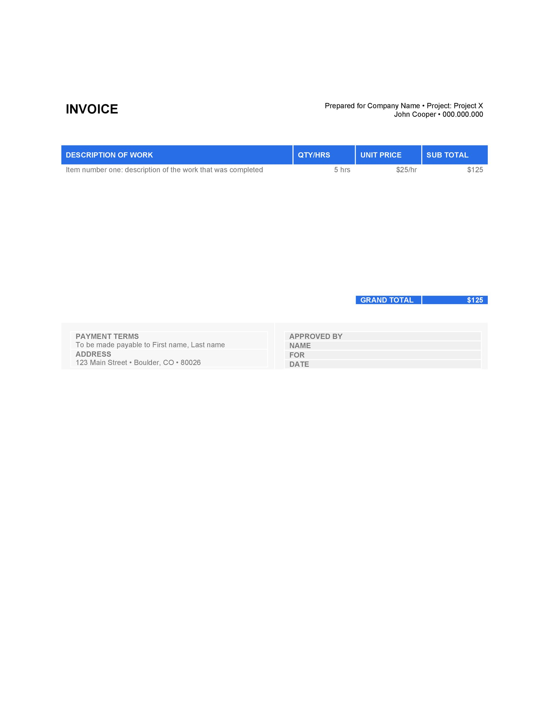 free daycare child invoice template excel pdf word doc 20 blank – Word Template Invoice