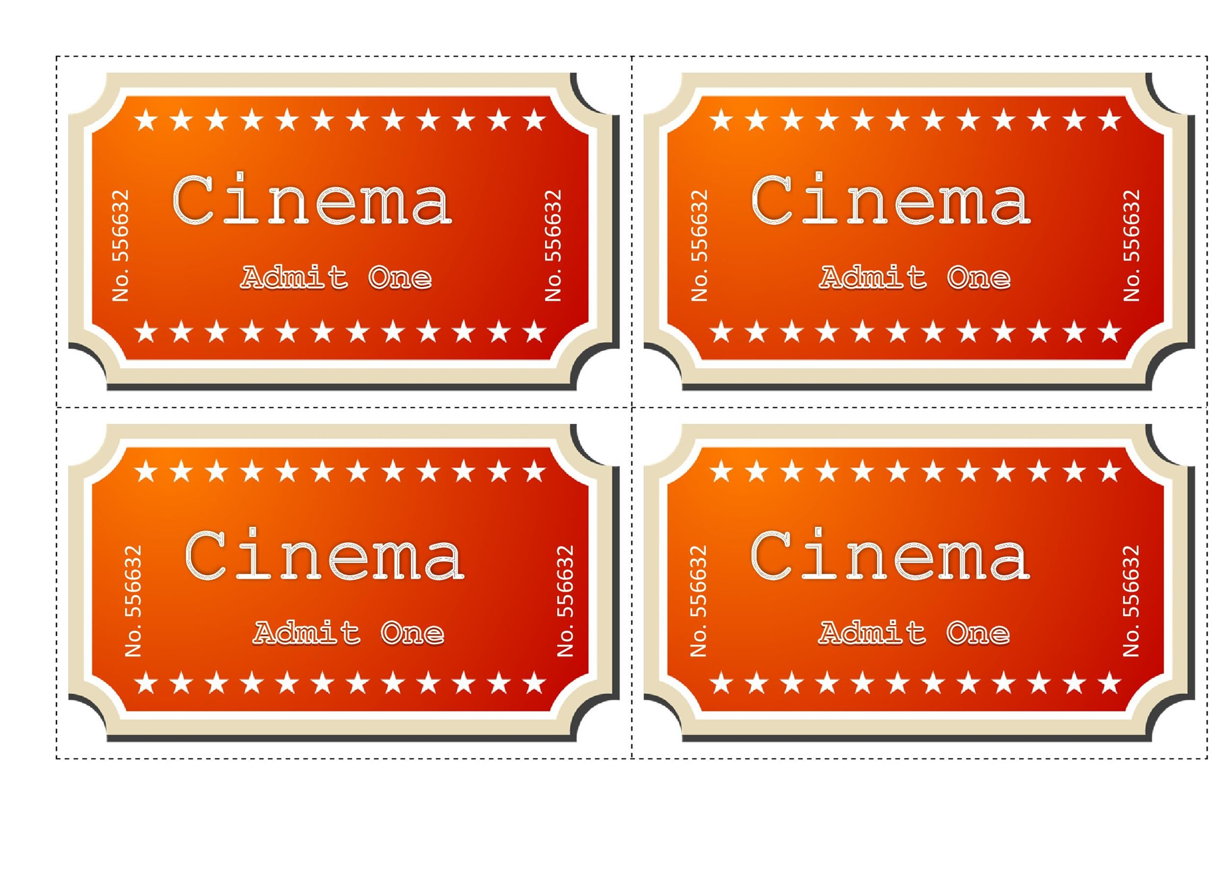 40 Free Editable Raffle Amp Movie Ticket Templates