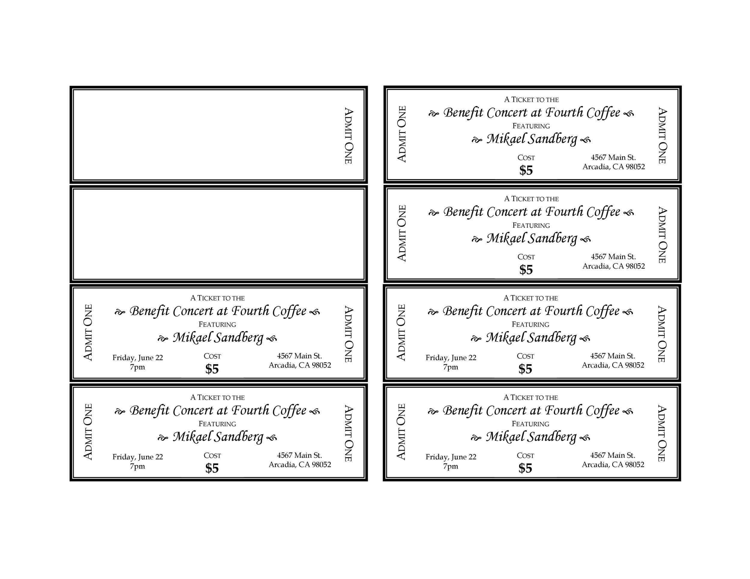 Plate Sale Ticket Template 40 free editable raffle and movie – Plate Sale Ticket Template