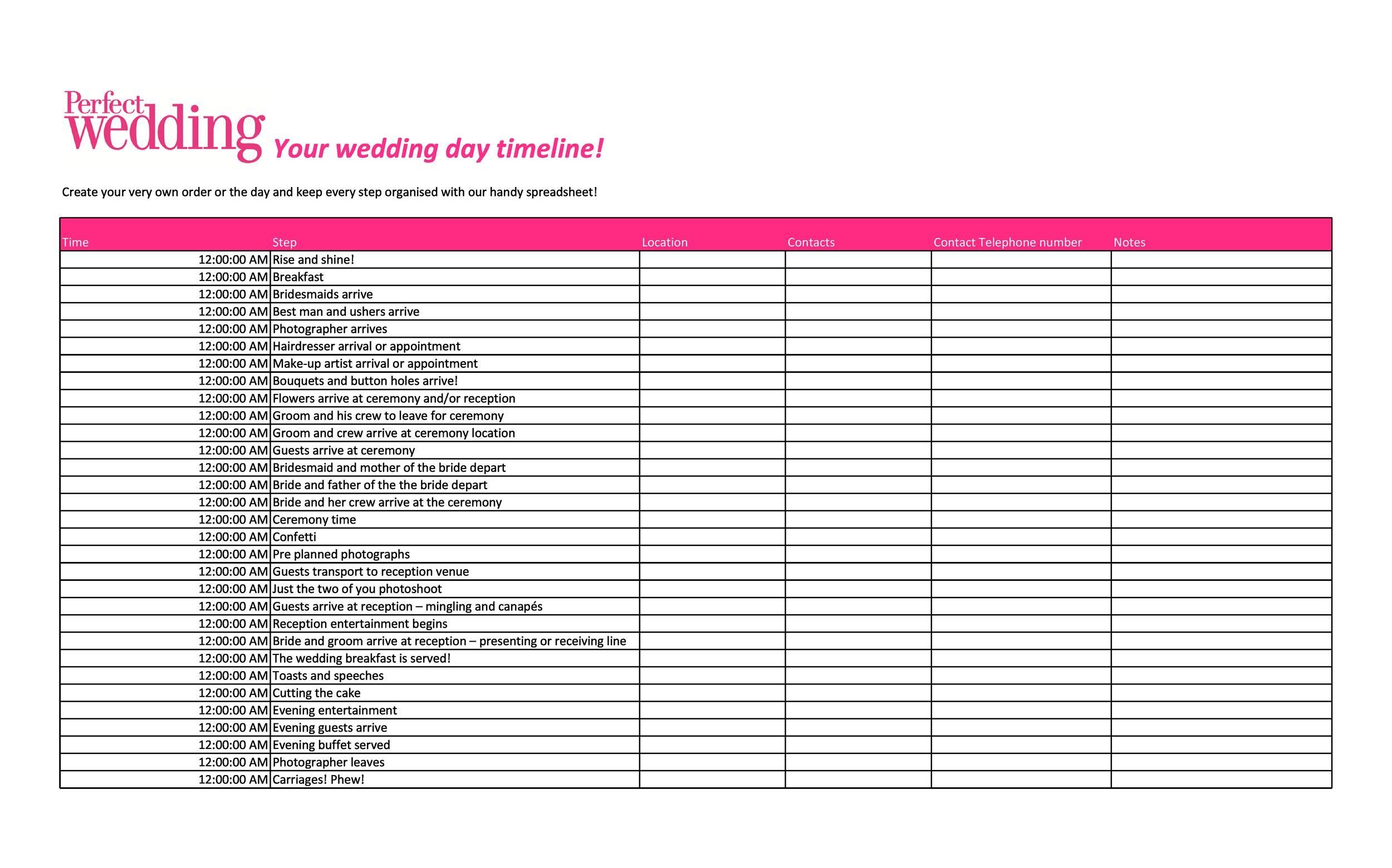 35+ Beautiful Wedding Guest List & Itinerary Templates