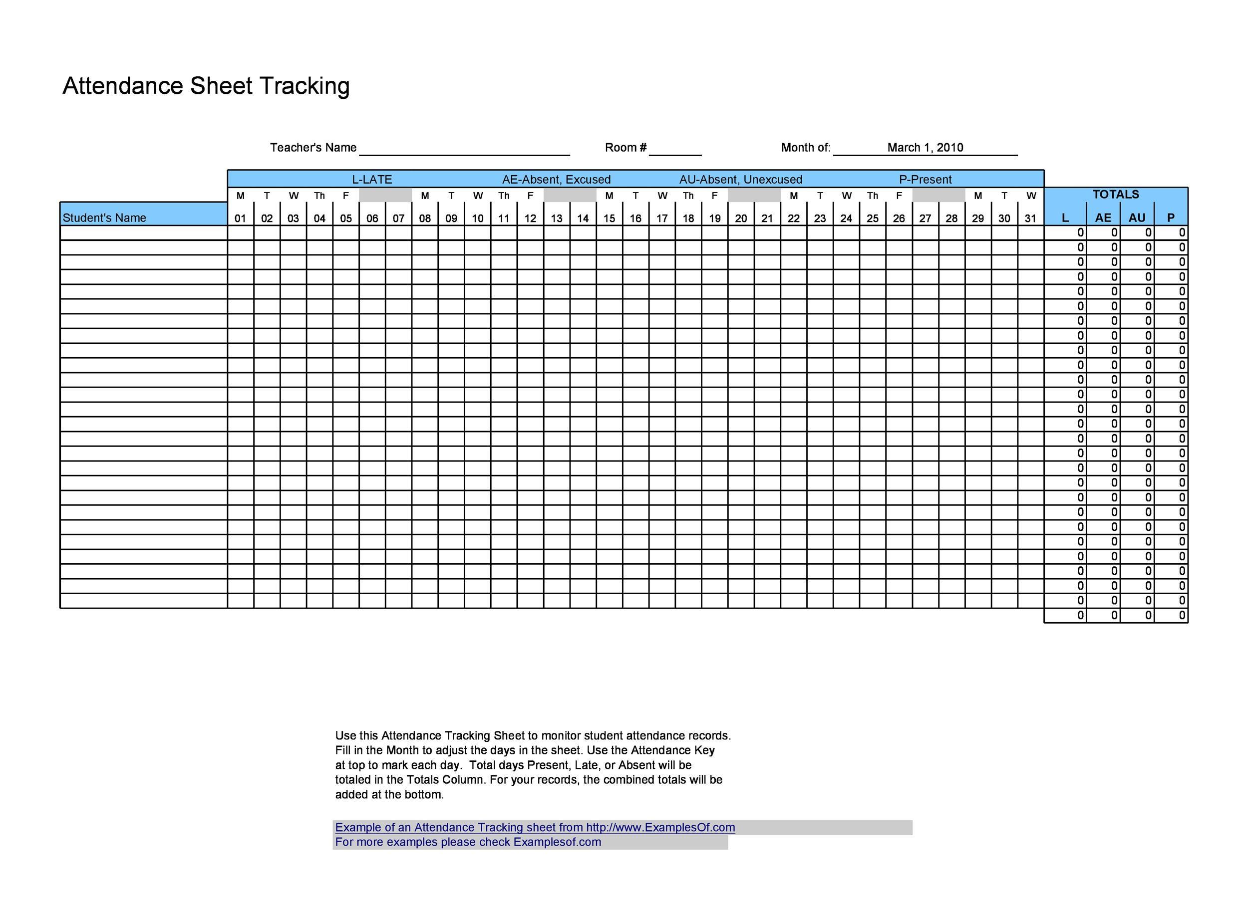 43 Free Printable Attendance Sheet Templates