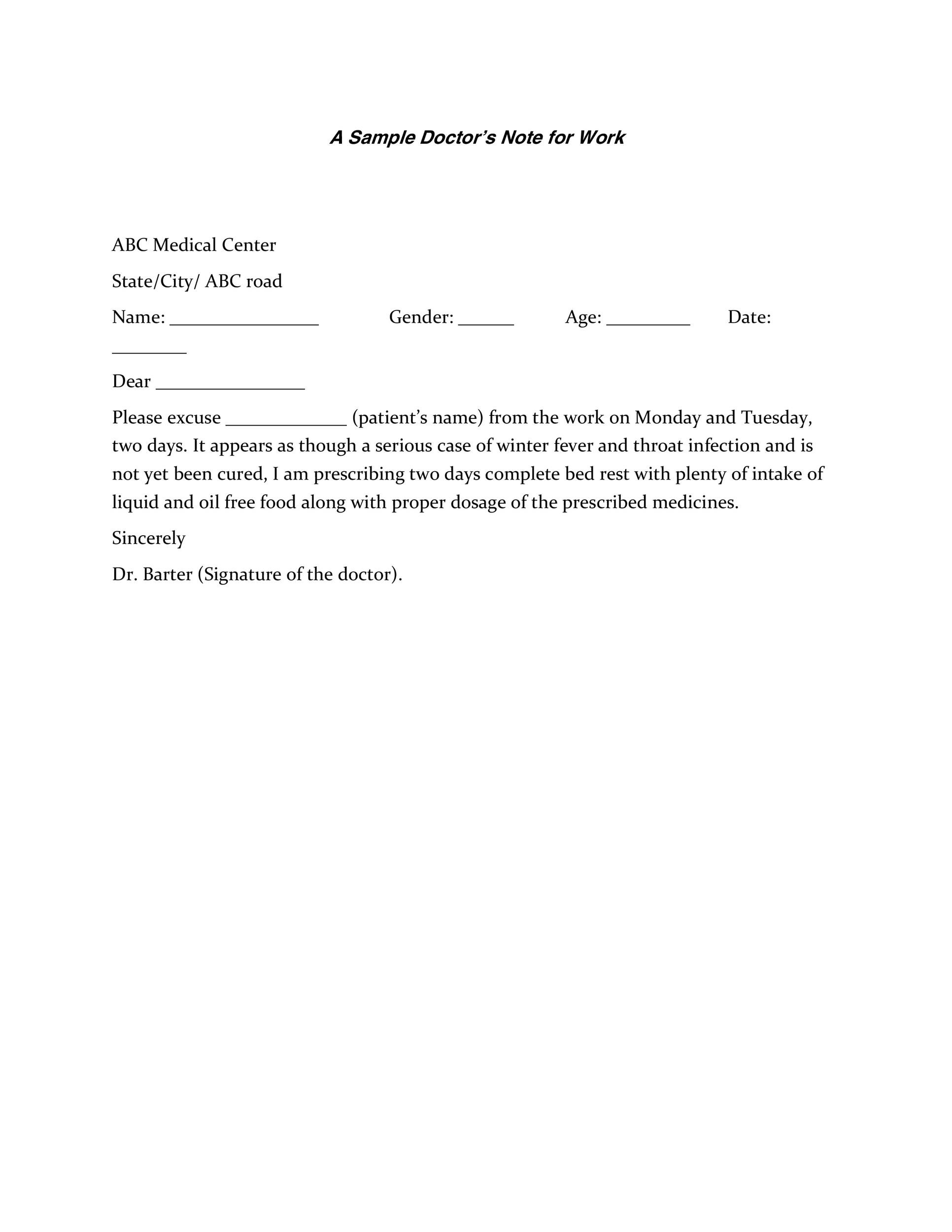 Doctor Note Templates. using a doctors note template. . here 39 ...