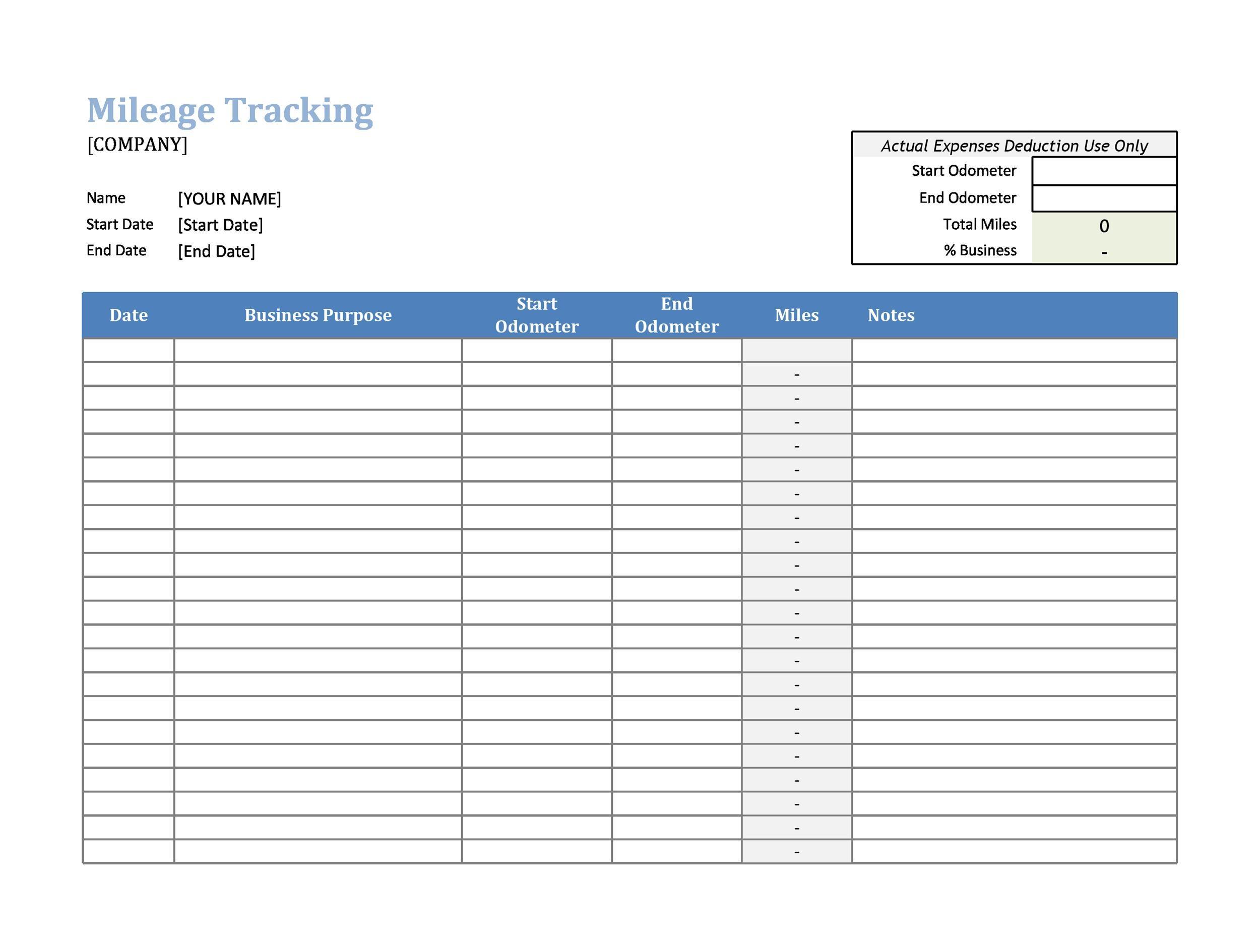 30 Printable Mileage Log Templates Free