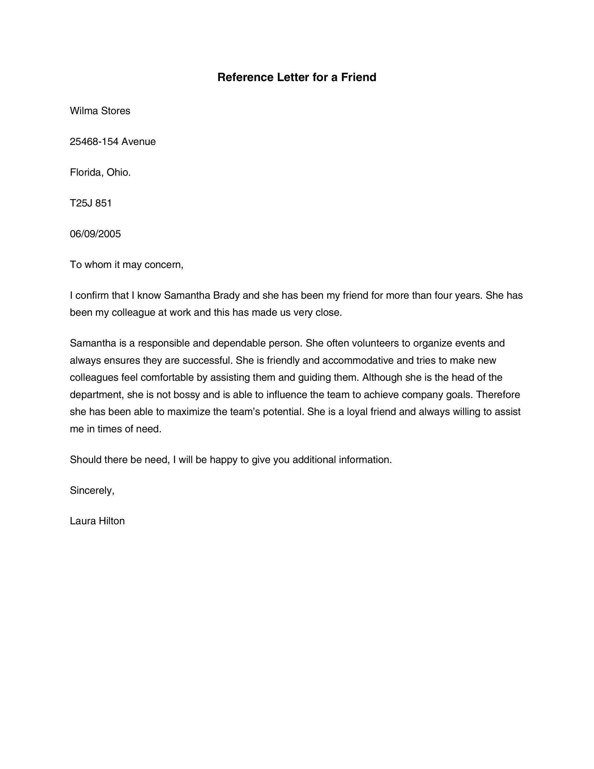 40 Awesome Personal Character Reference Letter