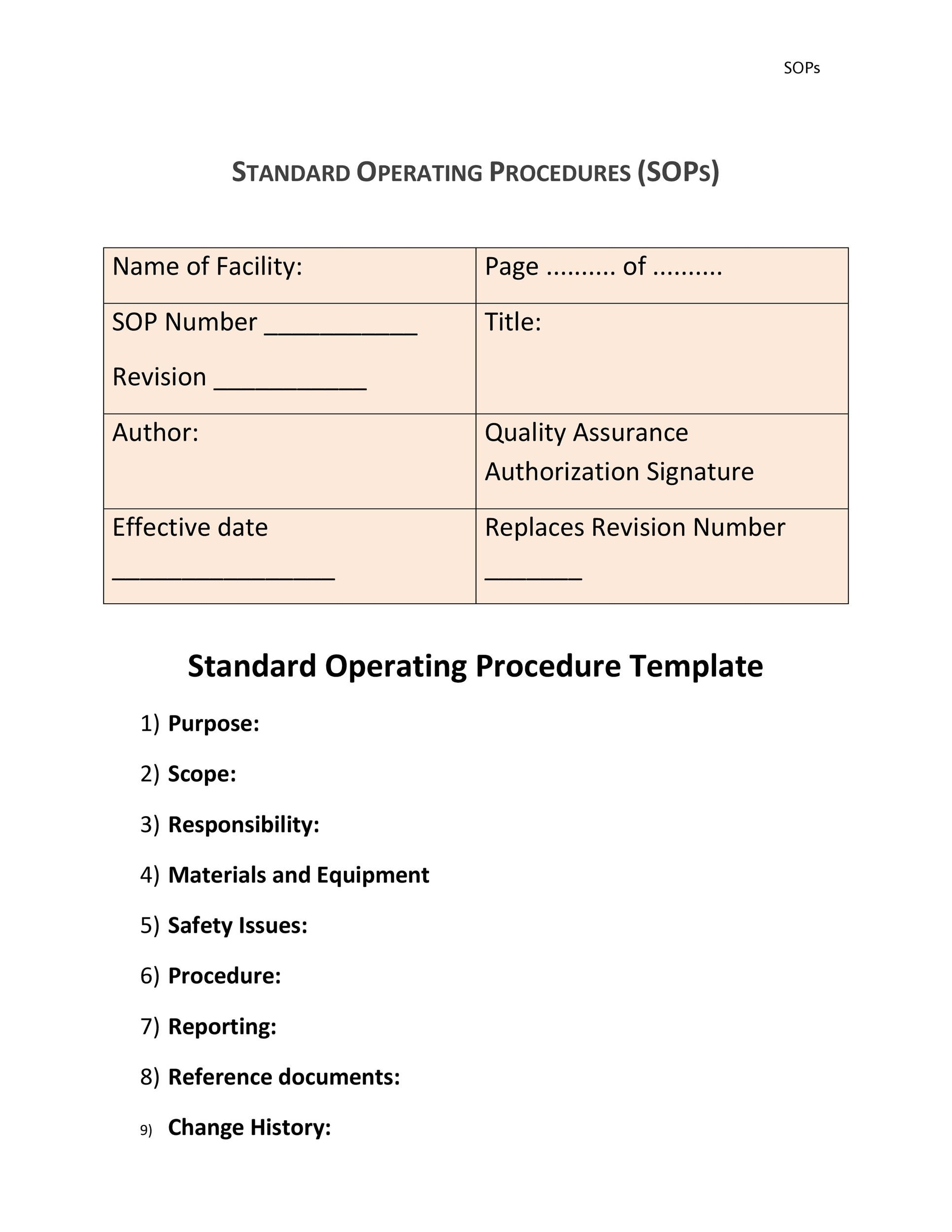 score nursing crib. sop template standard operating procedure template ...