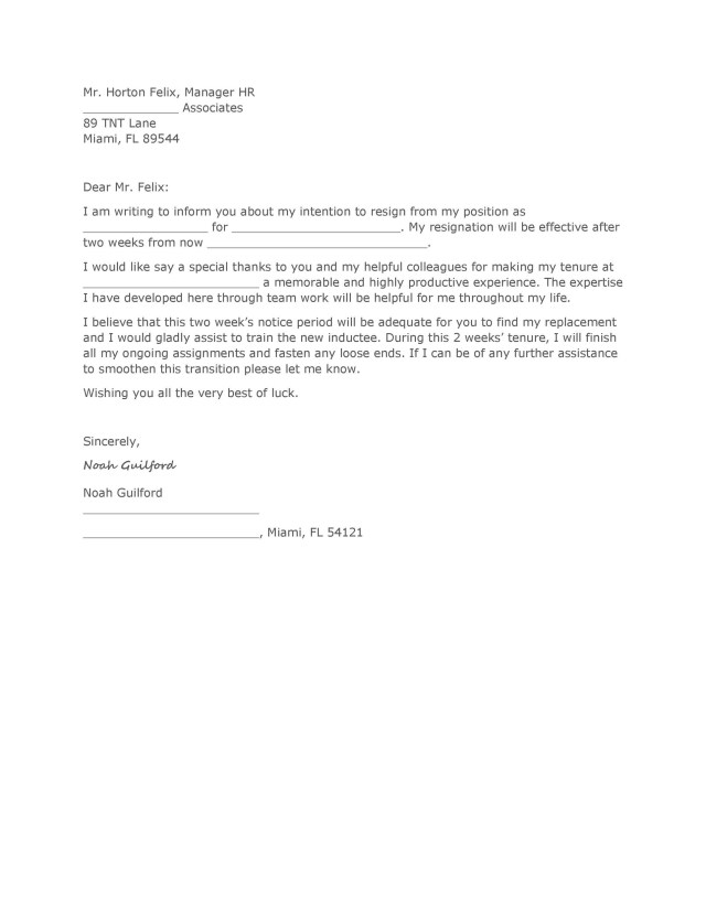 17 Two Weeks Notice Letters & Resignation Letter Templates