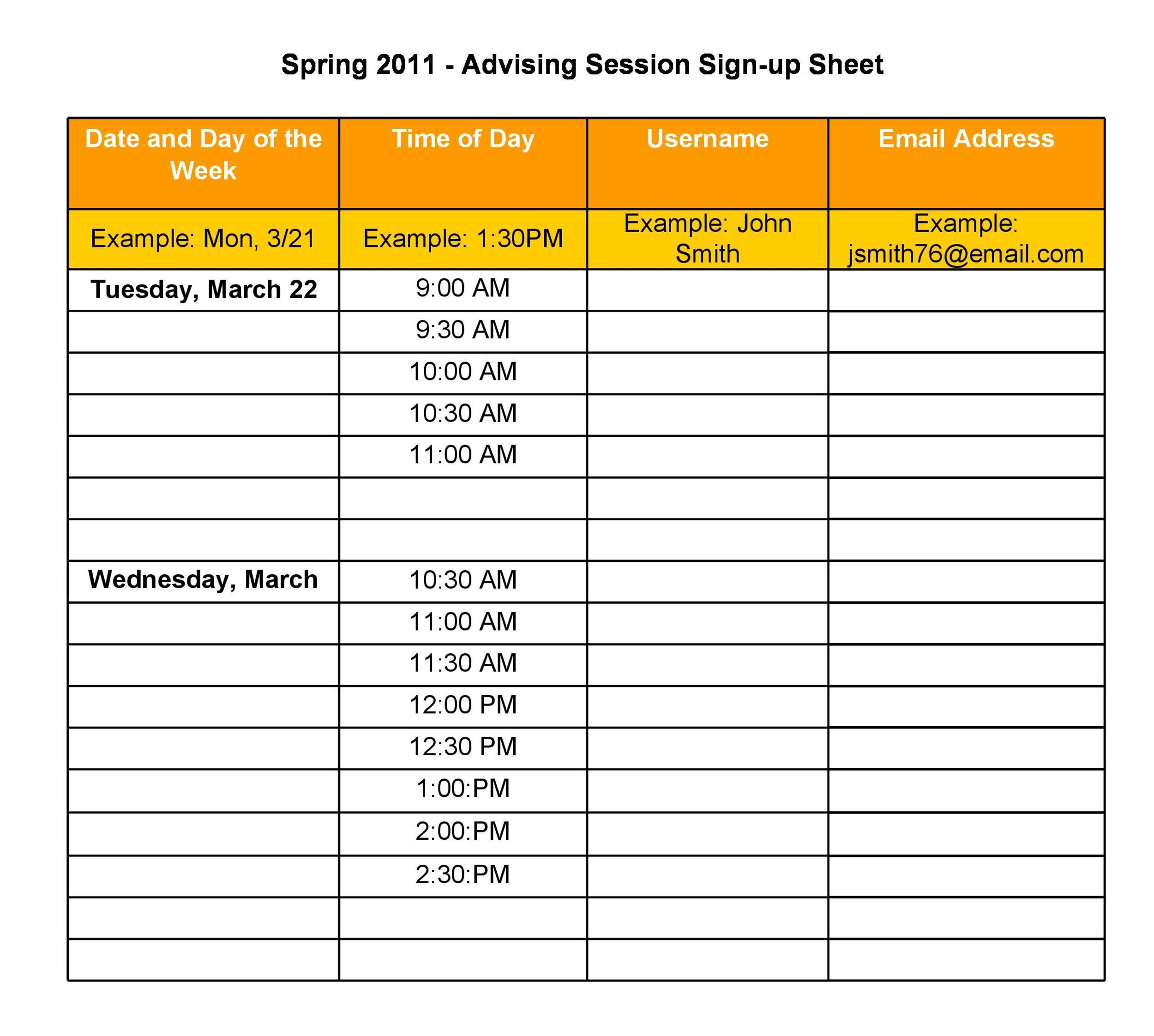 Potluck List Template sign up sheets potluck sign up sheet free – Simple Sign Up Sheet Template
