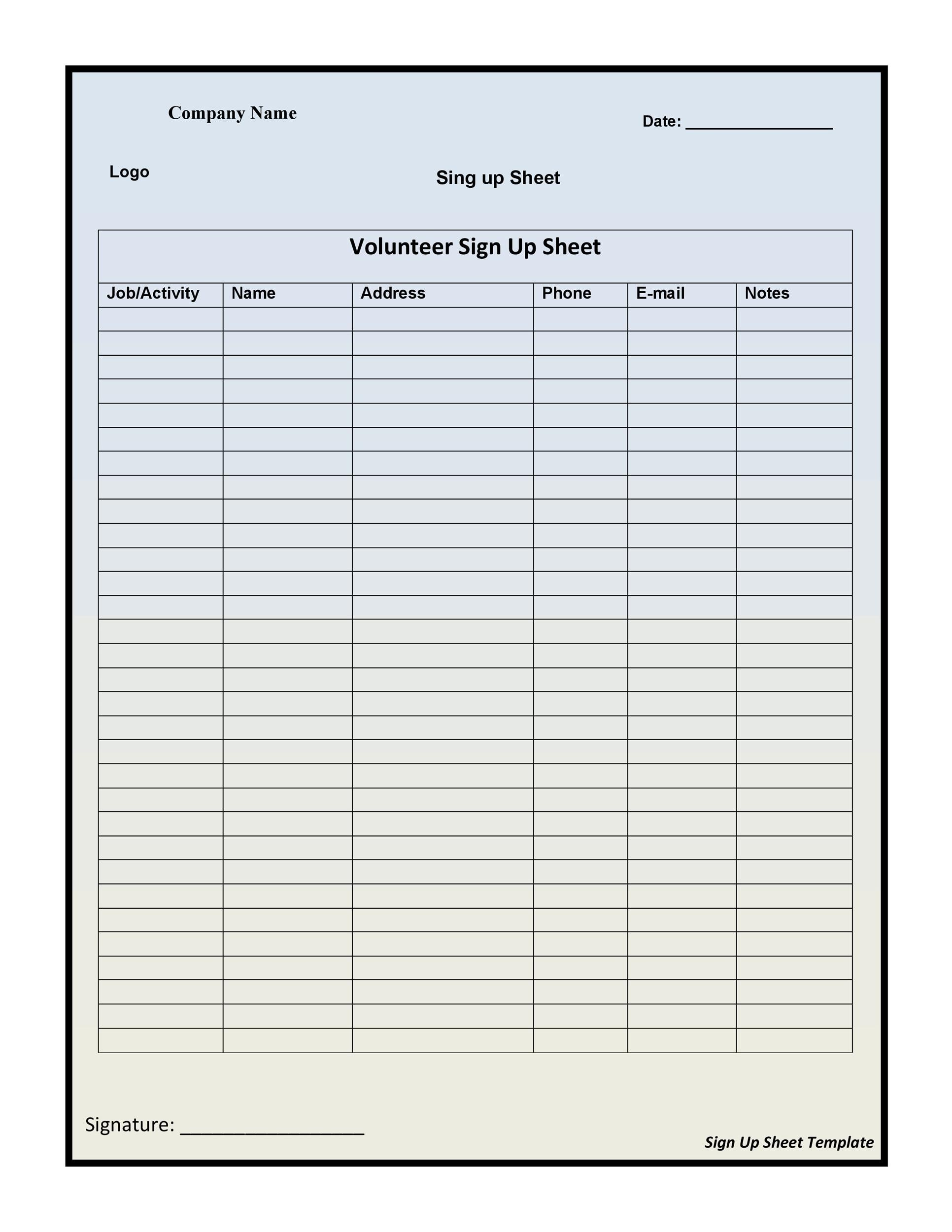 40 Sign Up Sheet Sign In Sheet Templates Word Amp Excel
