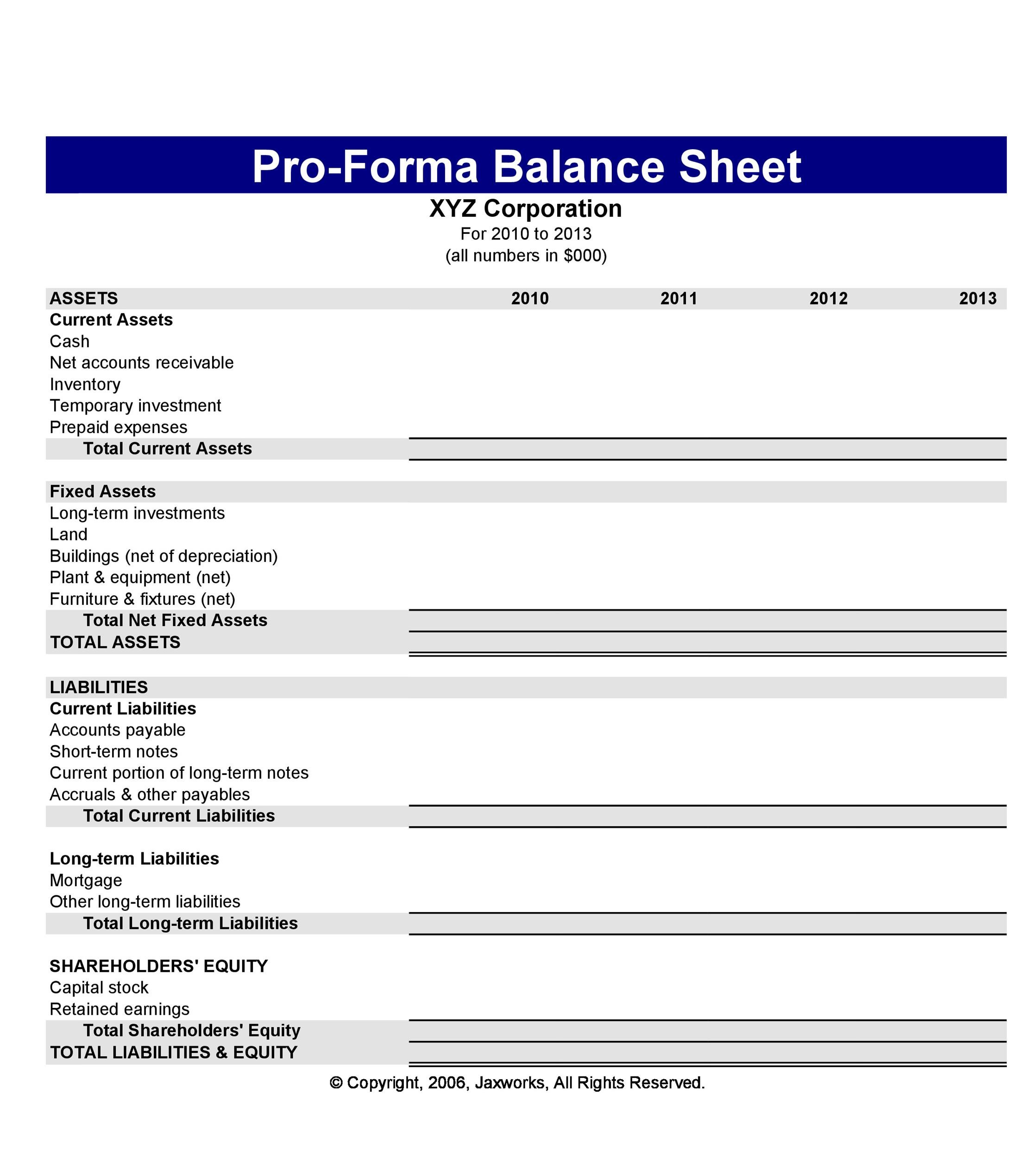 Balance Sheet Templates