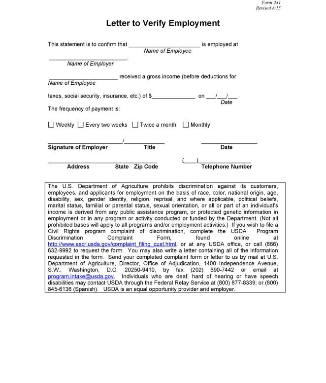 verification of employment template