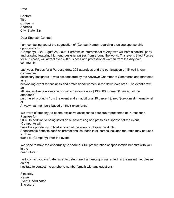 Event Sponsorship Letter Template  Docoments Ojazlink
