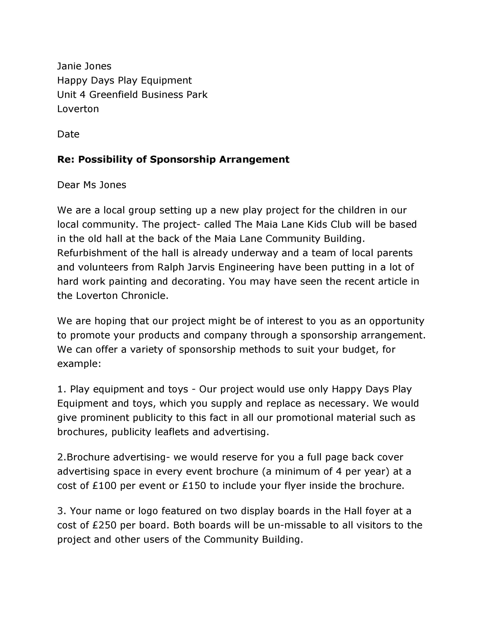 Event The Sponsorship Proposal Template Can Help You Make A – Letter Sponsorship