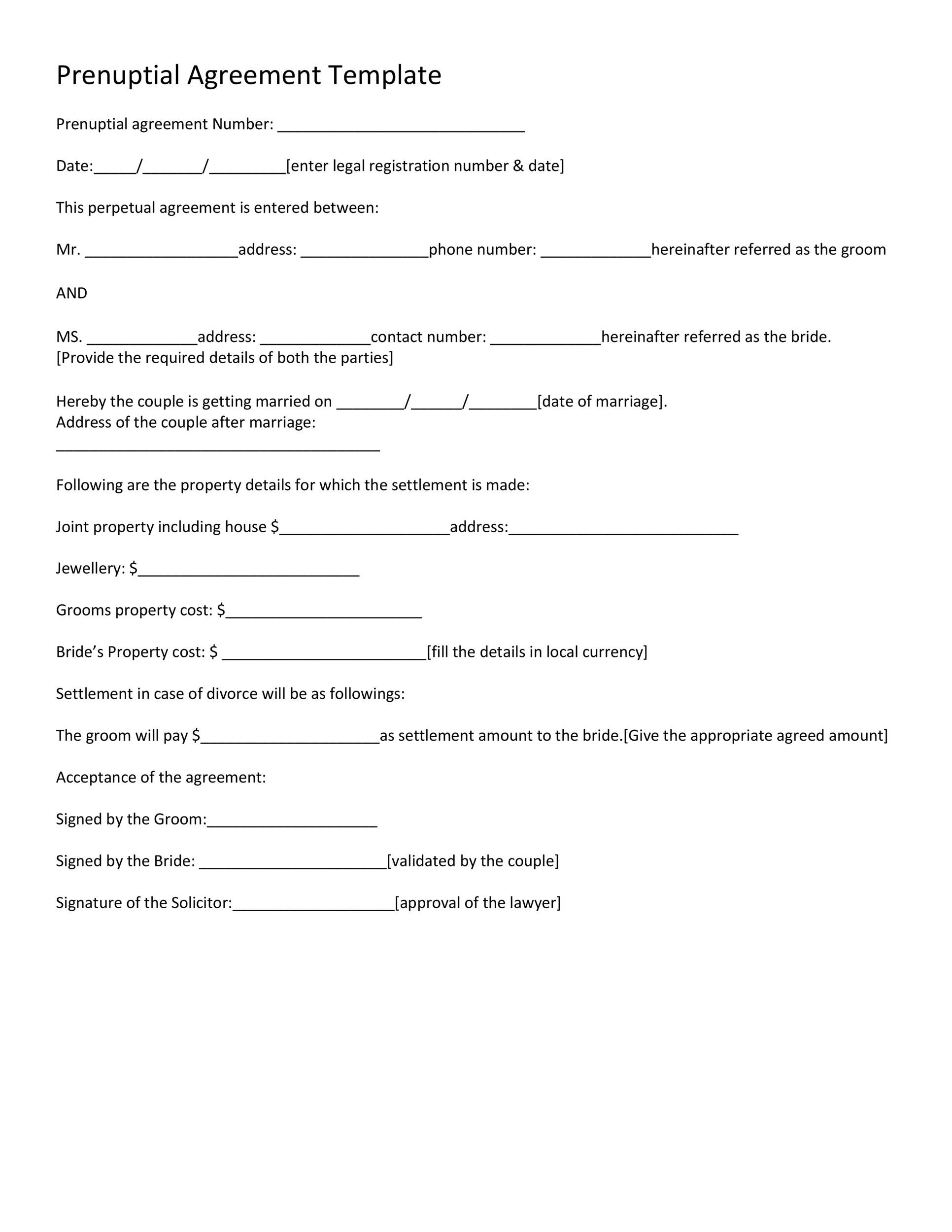 30 Prenuptial Agreement Samples Amp Forms Templatelab