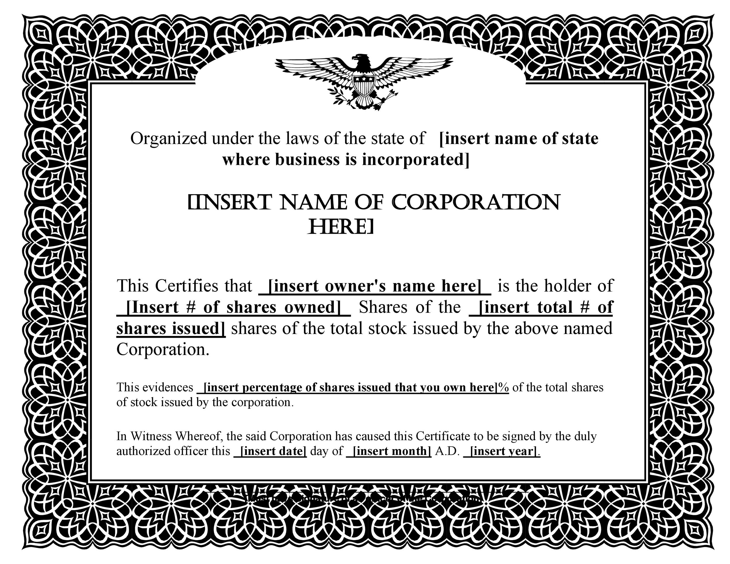Company Share Certificate Template 40 free stock certificate – Shares Certificate Template