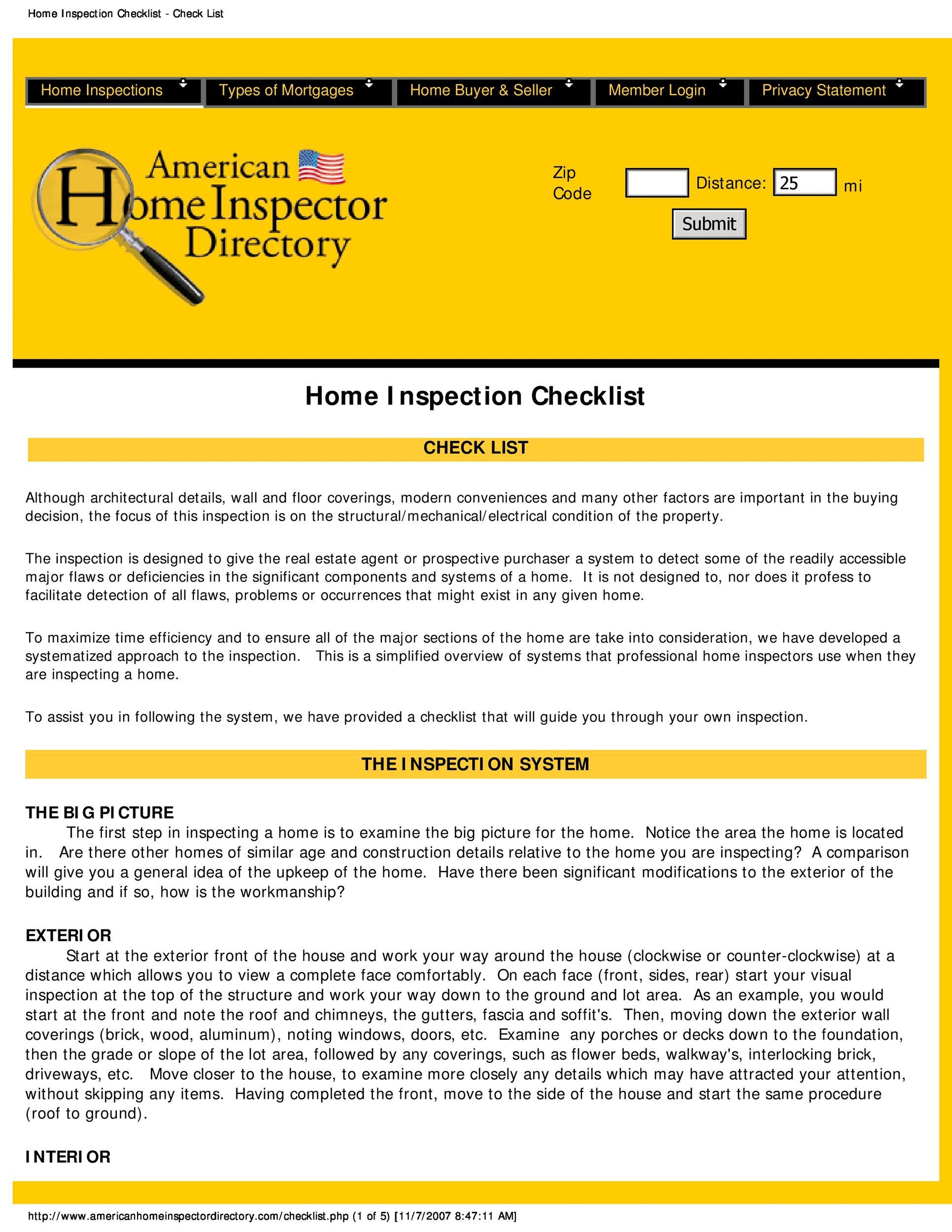 Fireplace Inspection Form