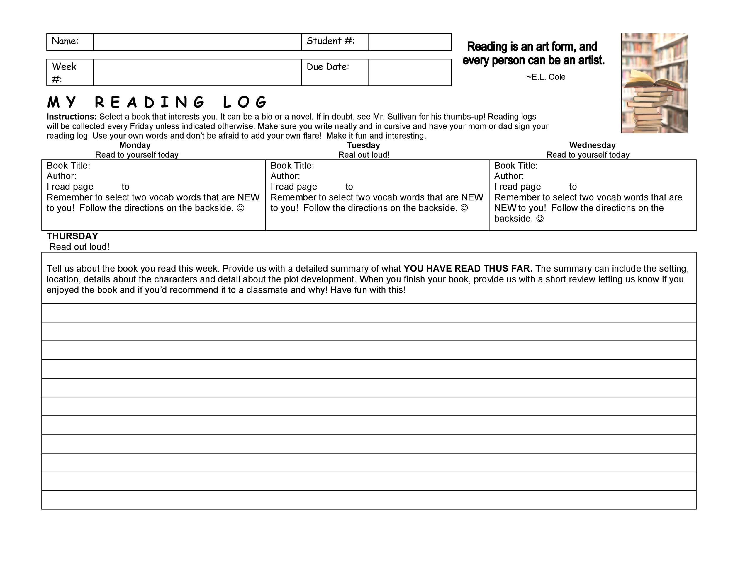 Reading Journal Template  pics photos  plus to keep your