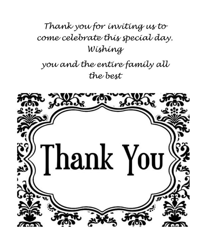 Printable Wedding Thank You Card Template | Infocard.Co