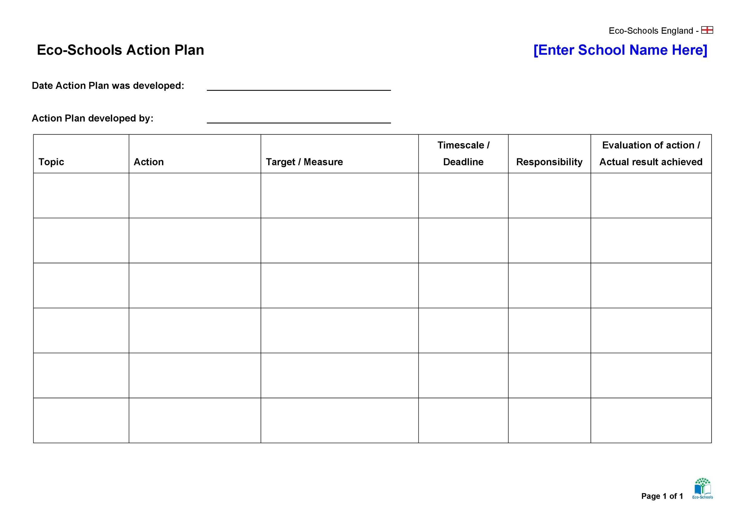 45 Free Action Plan Templates Corrective Emergency