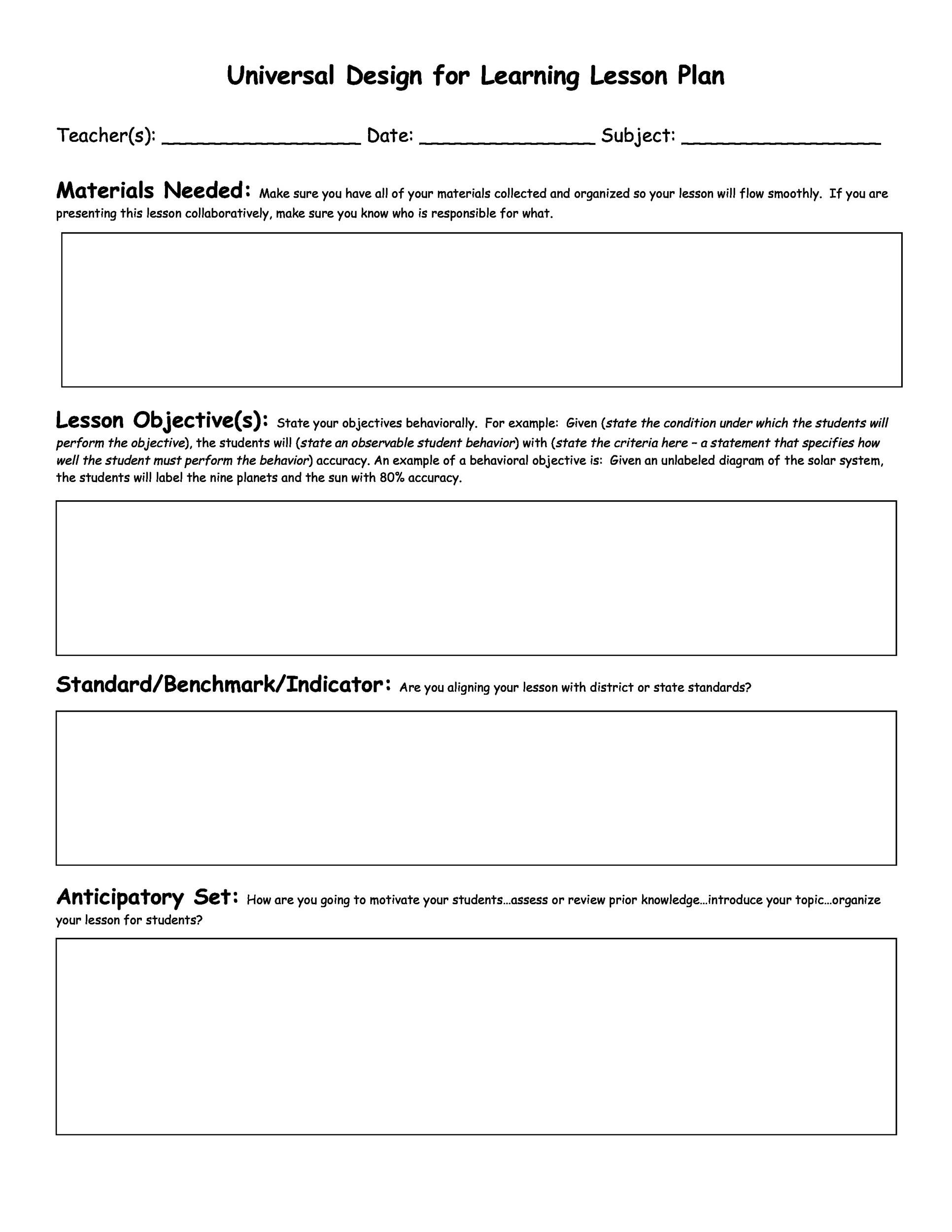 44 Free Lesson Plan Templates Common Core Preschool Weekly