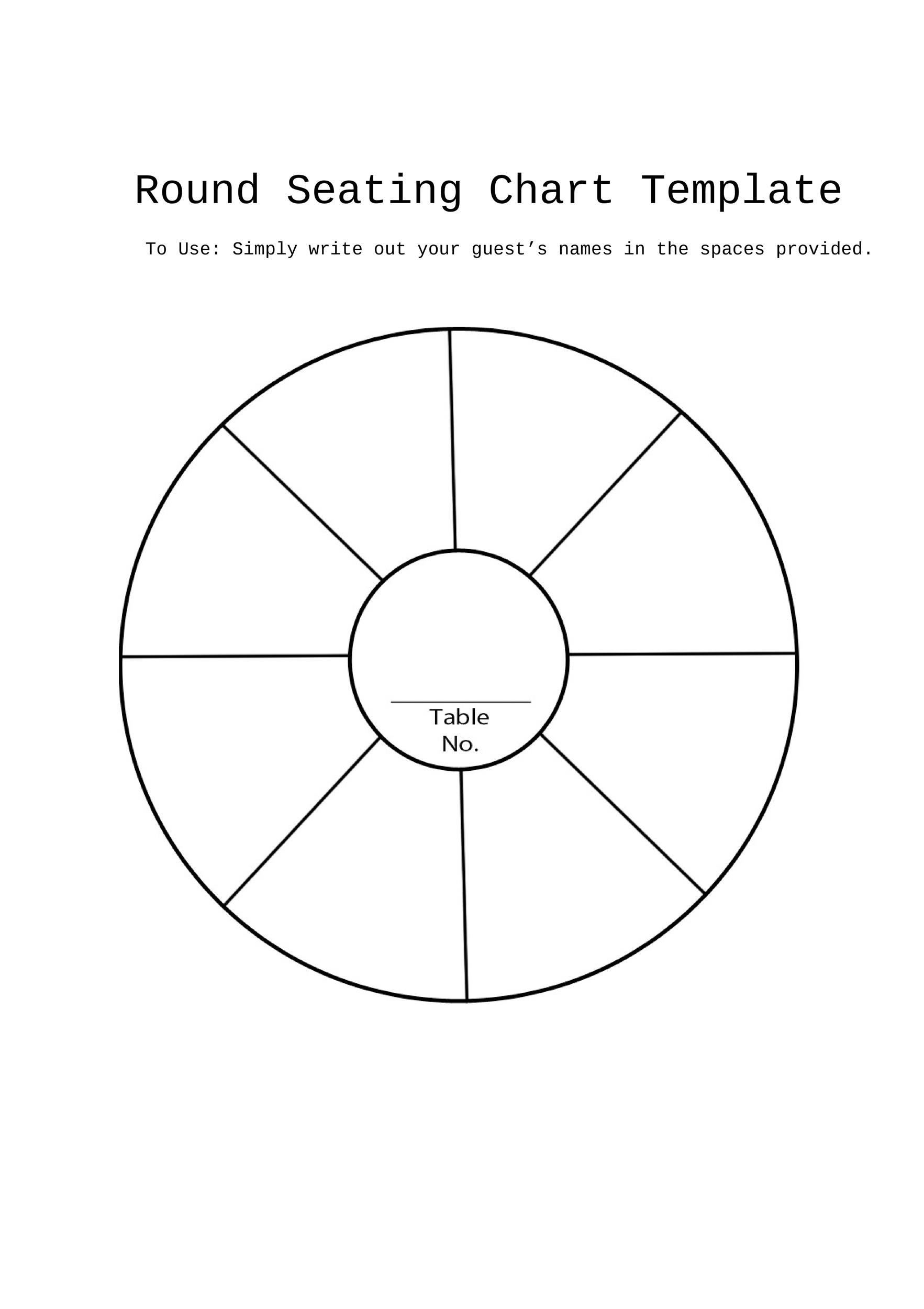 Wedding Seating Chart Template For 8 Person Round Table ...