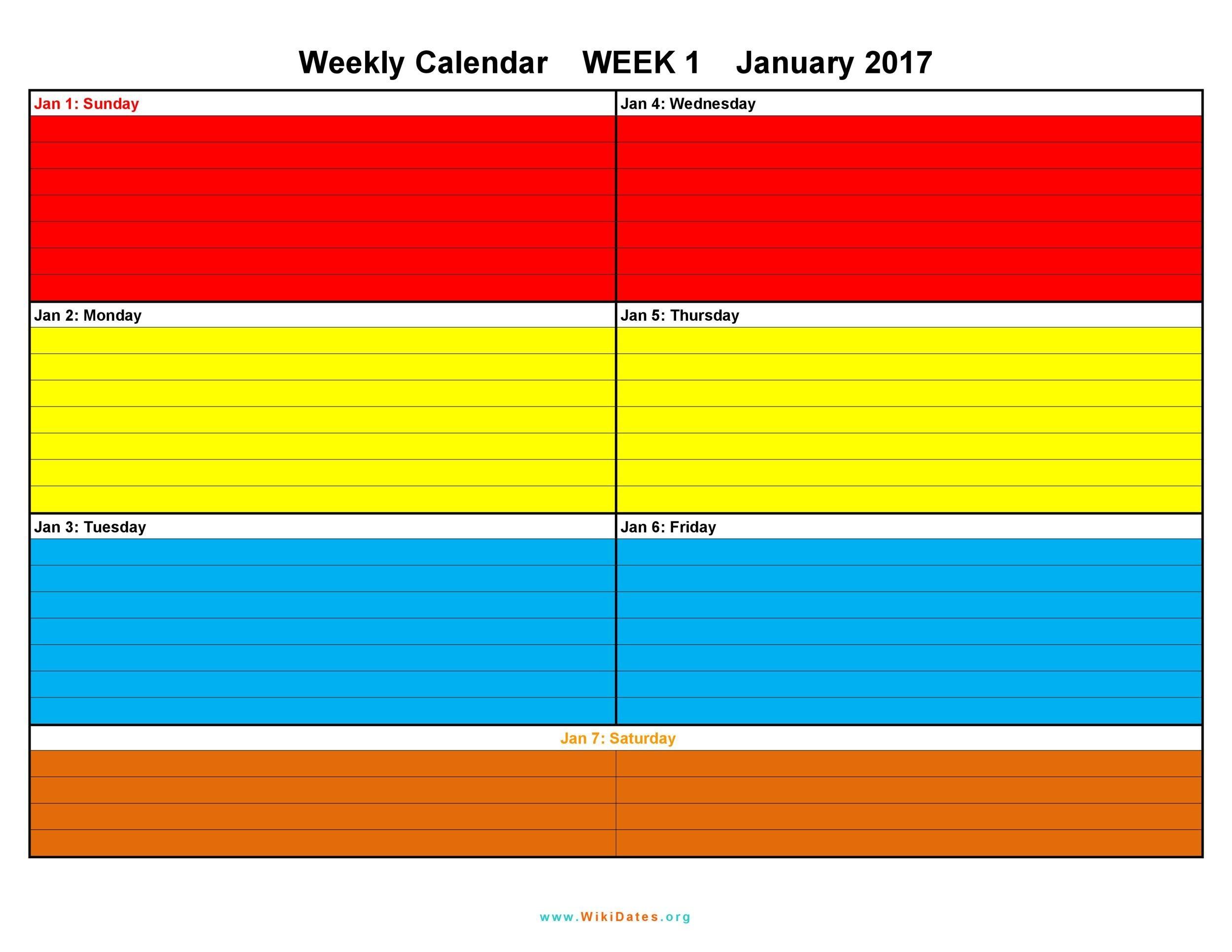 26 Blank Weekly Calendar Templates Excel Word