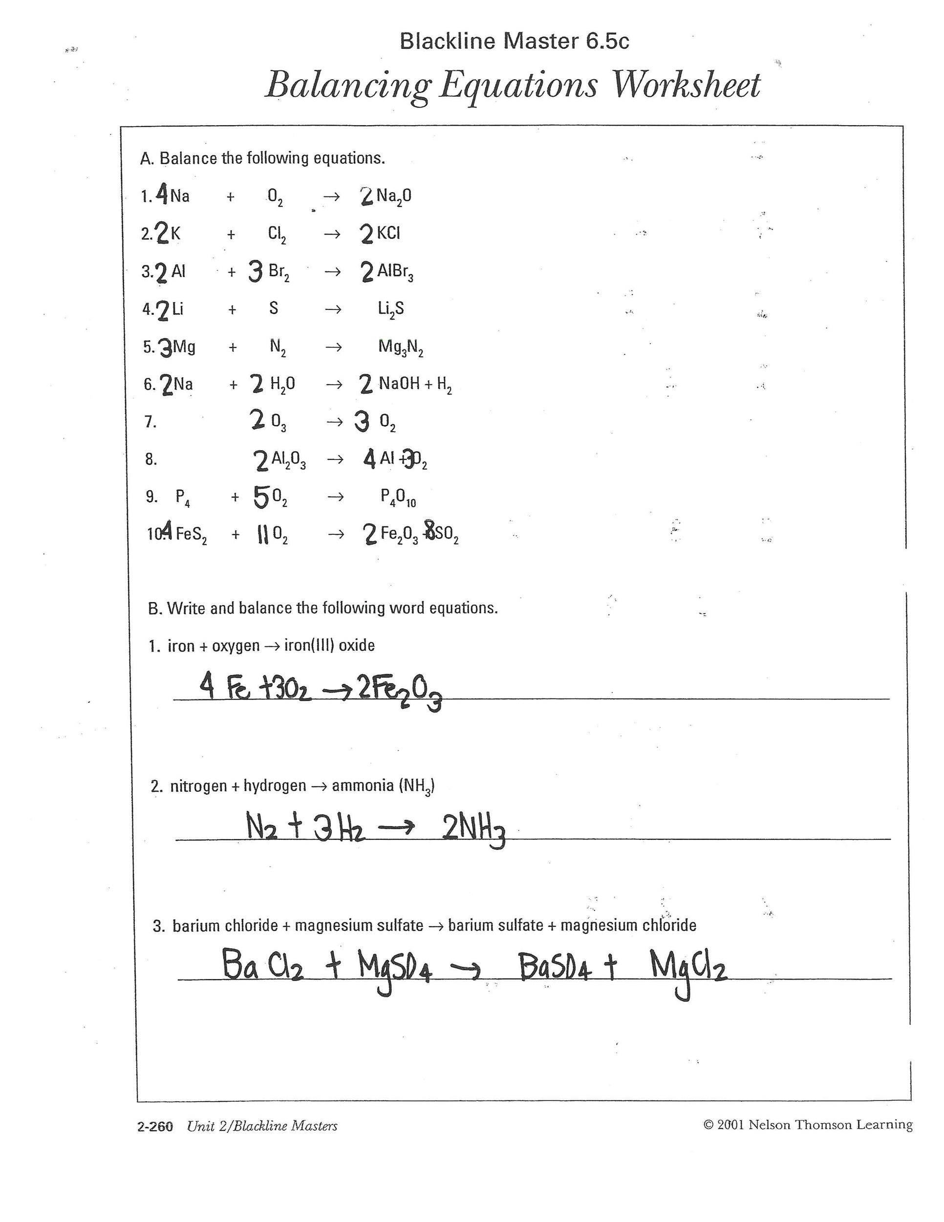 Word Equations Worksheet Answers With Work