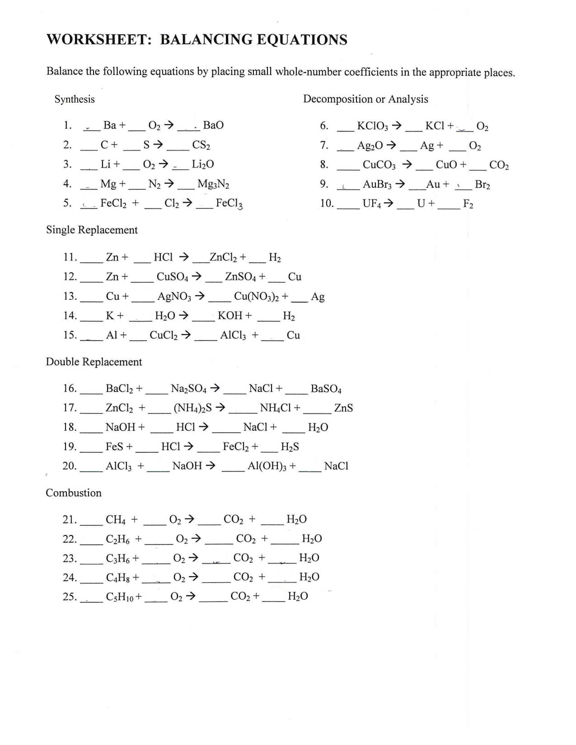 Report Sheet Lab 10 Chemical Reactions And Equations