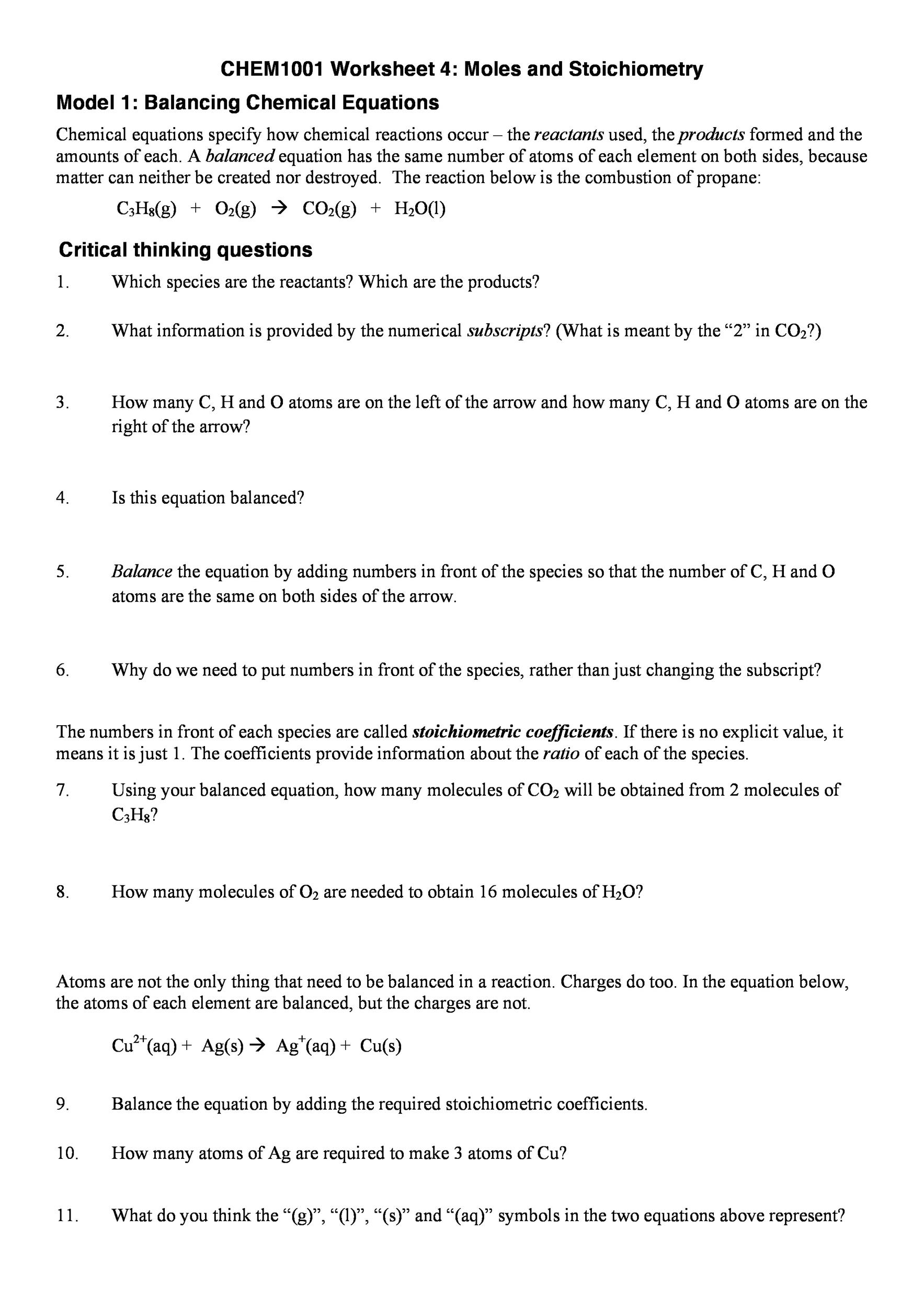 Balancing Equations Worksheet Grade 8