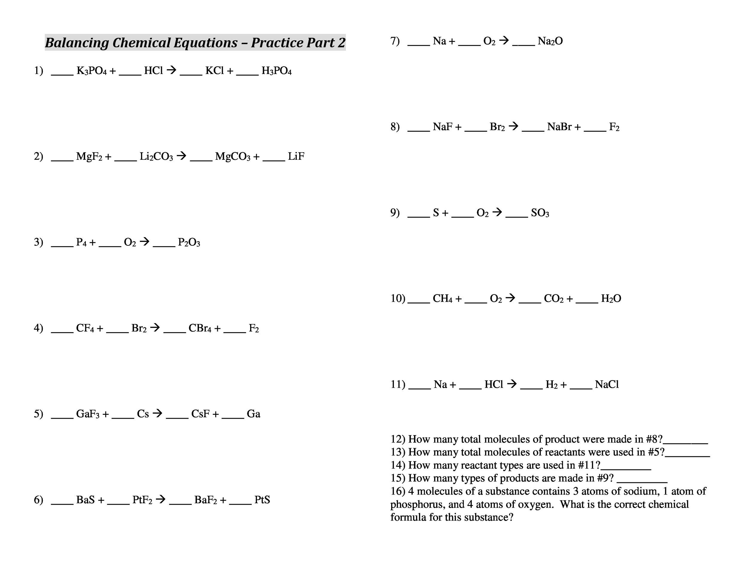 Chemical Reactions And Equations Class 10 Worksheet With