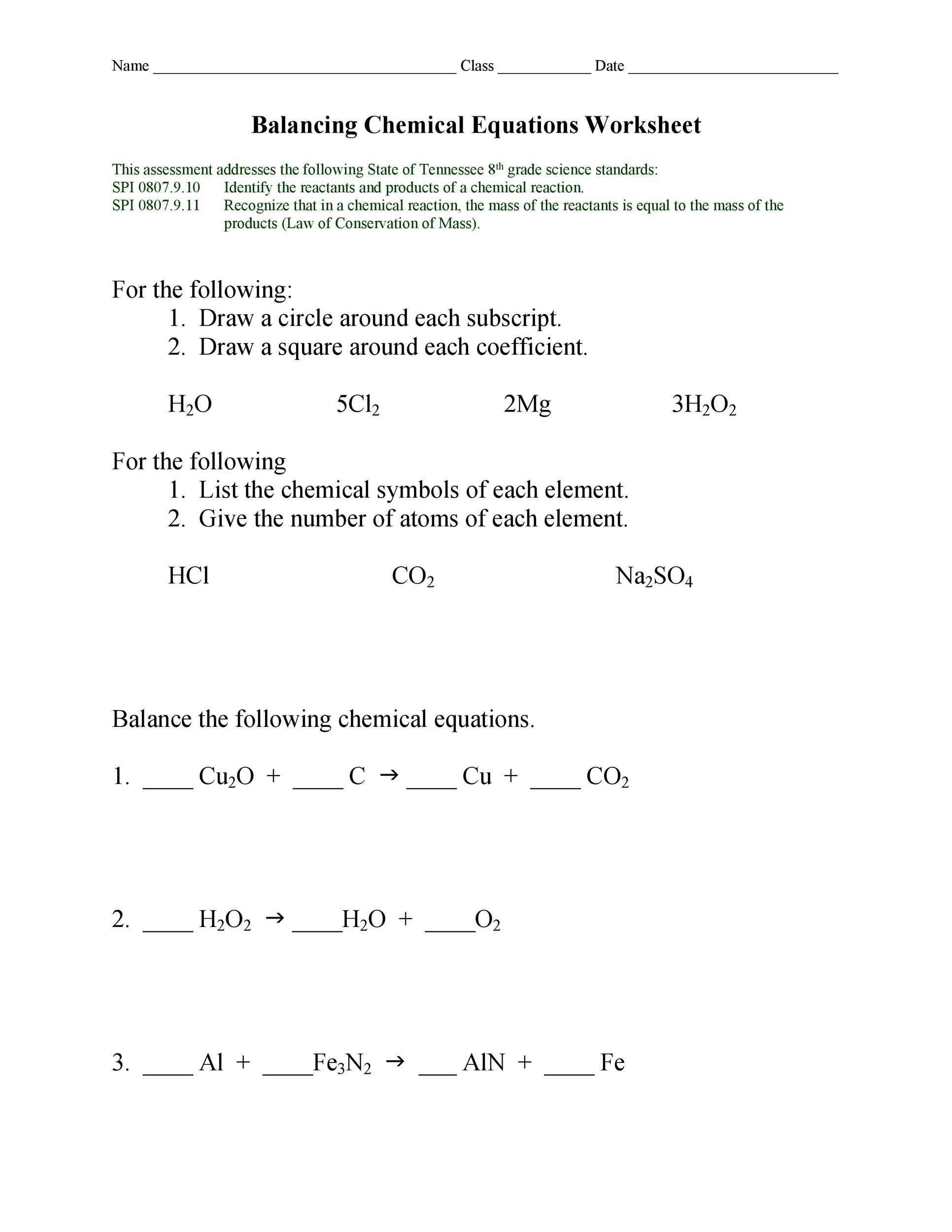 Balancing Chemical Equations Worksheet For Beginners