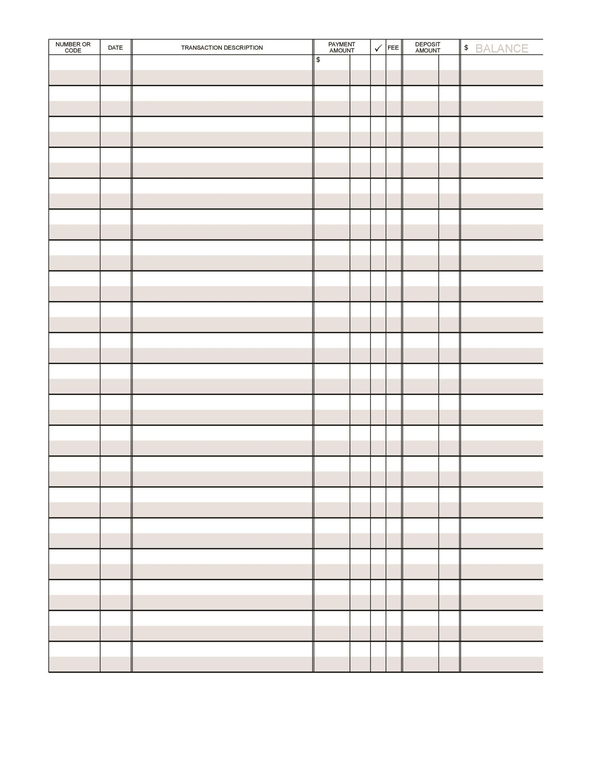37 Checkbook Register Templates 100 Free Printable