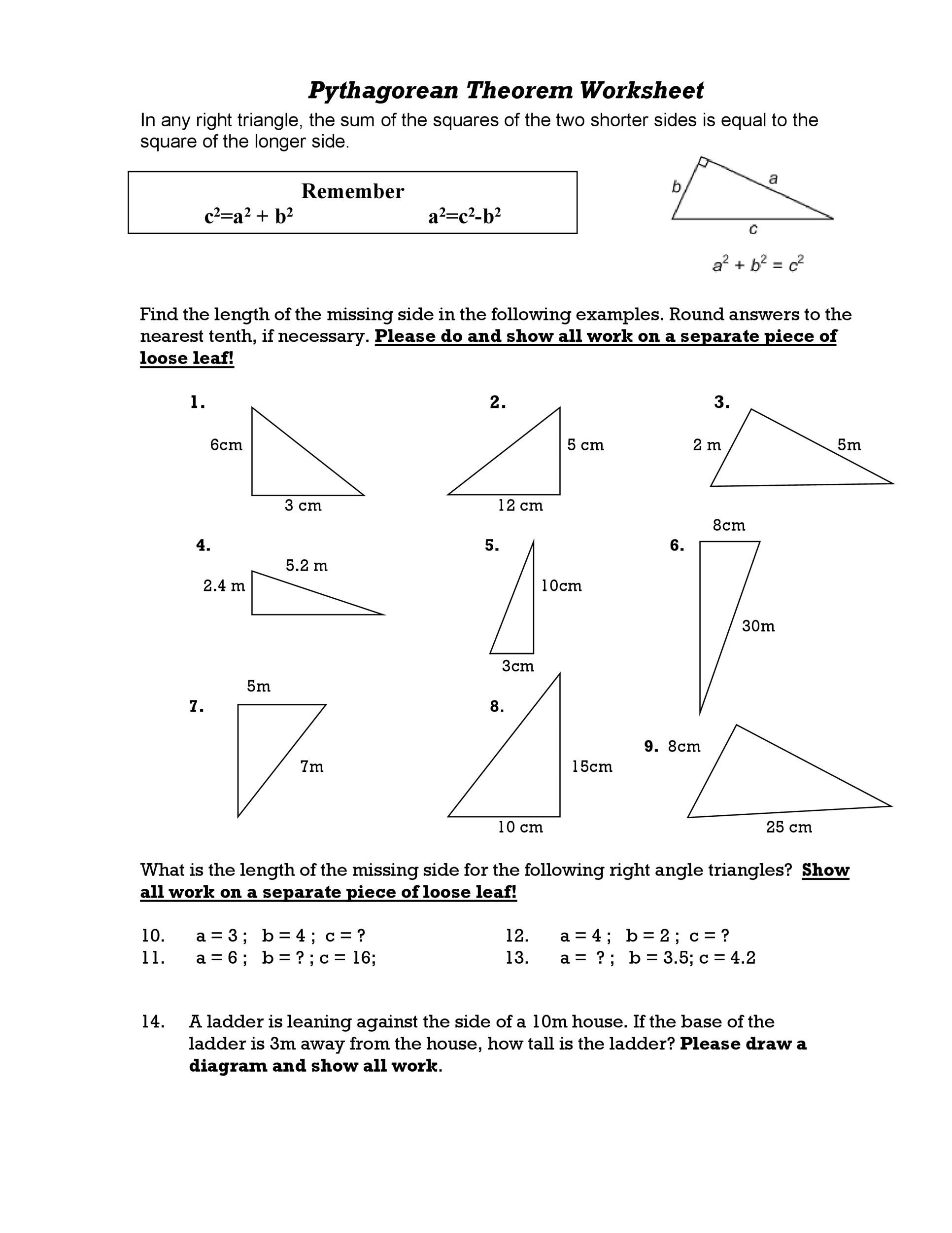 Pythagorean Theorem Assignment Worksheet Answers