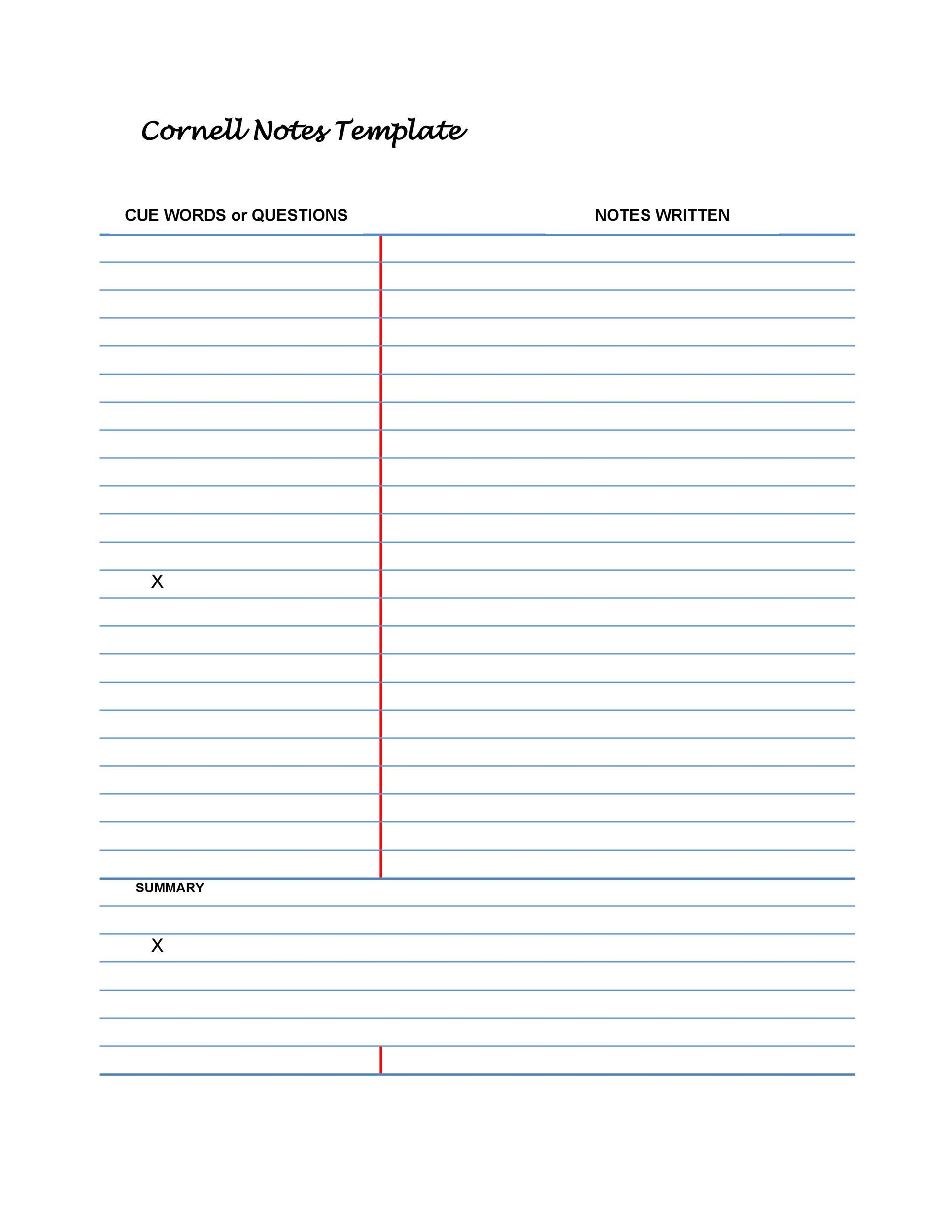 Cornell Note Template Printable That Are Invaluable