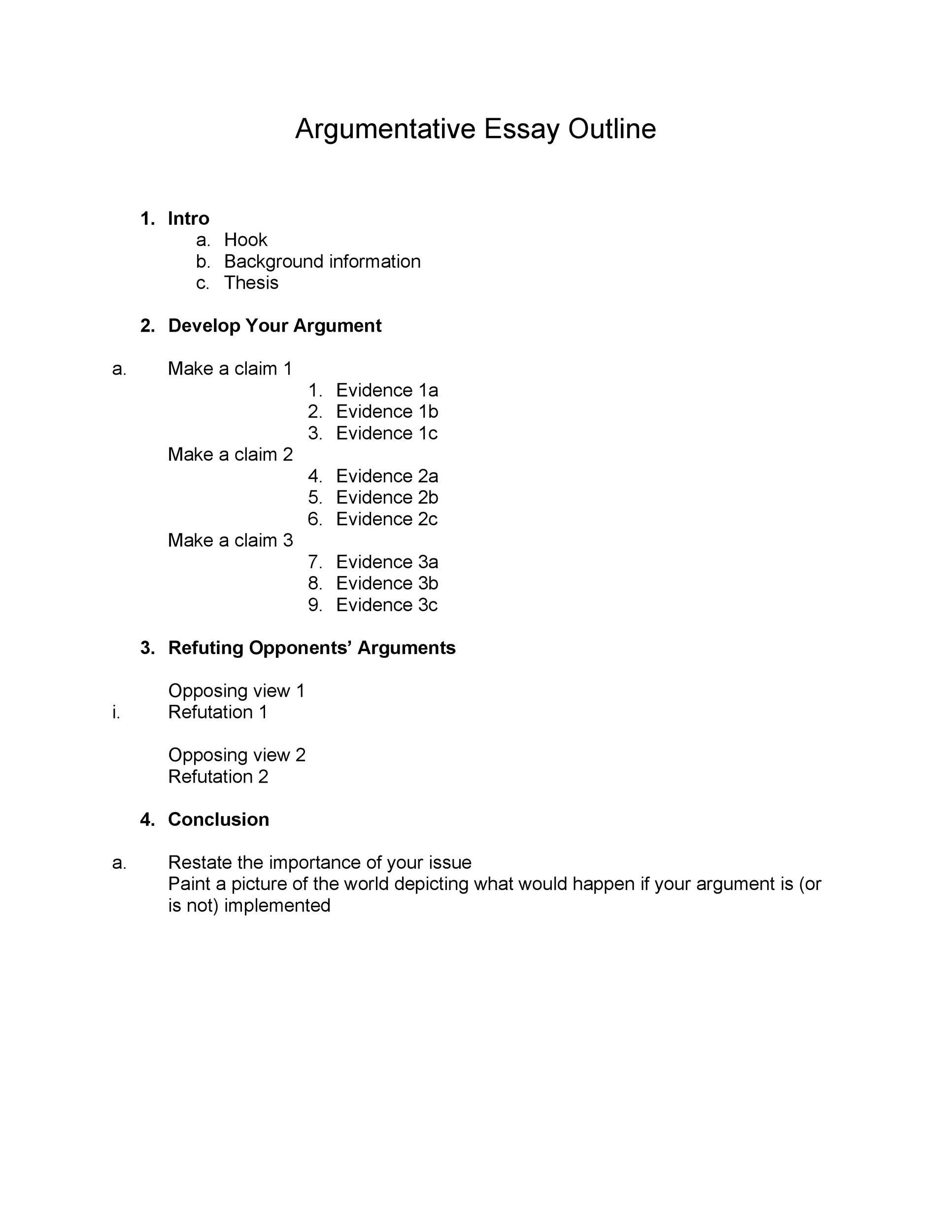 37 Outstanding Essay Outline Templates Argumentative