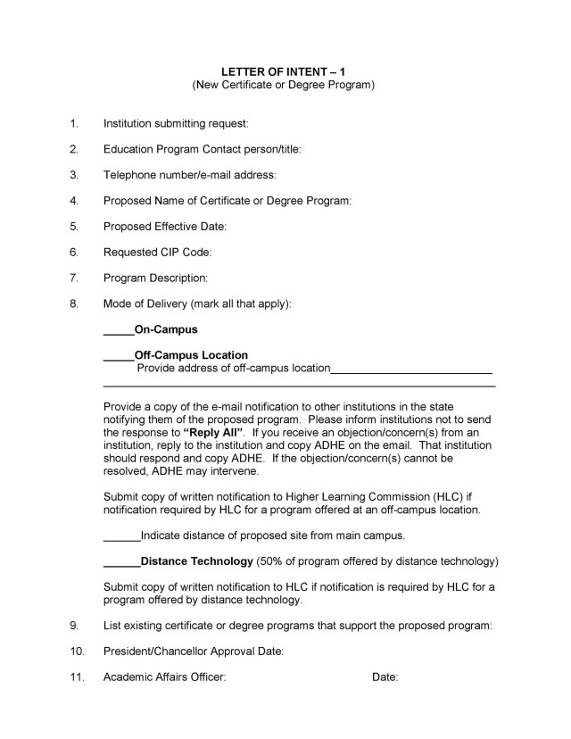 Letter Of Intent Templates Samples
