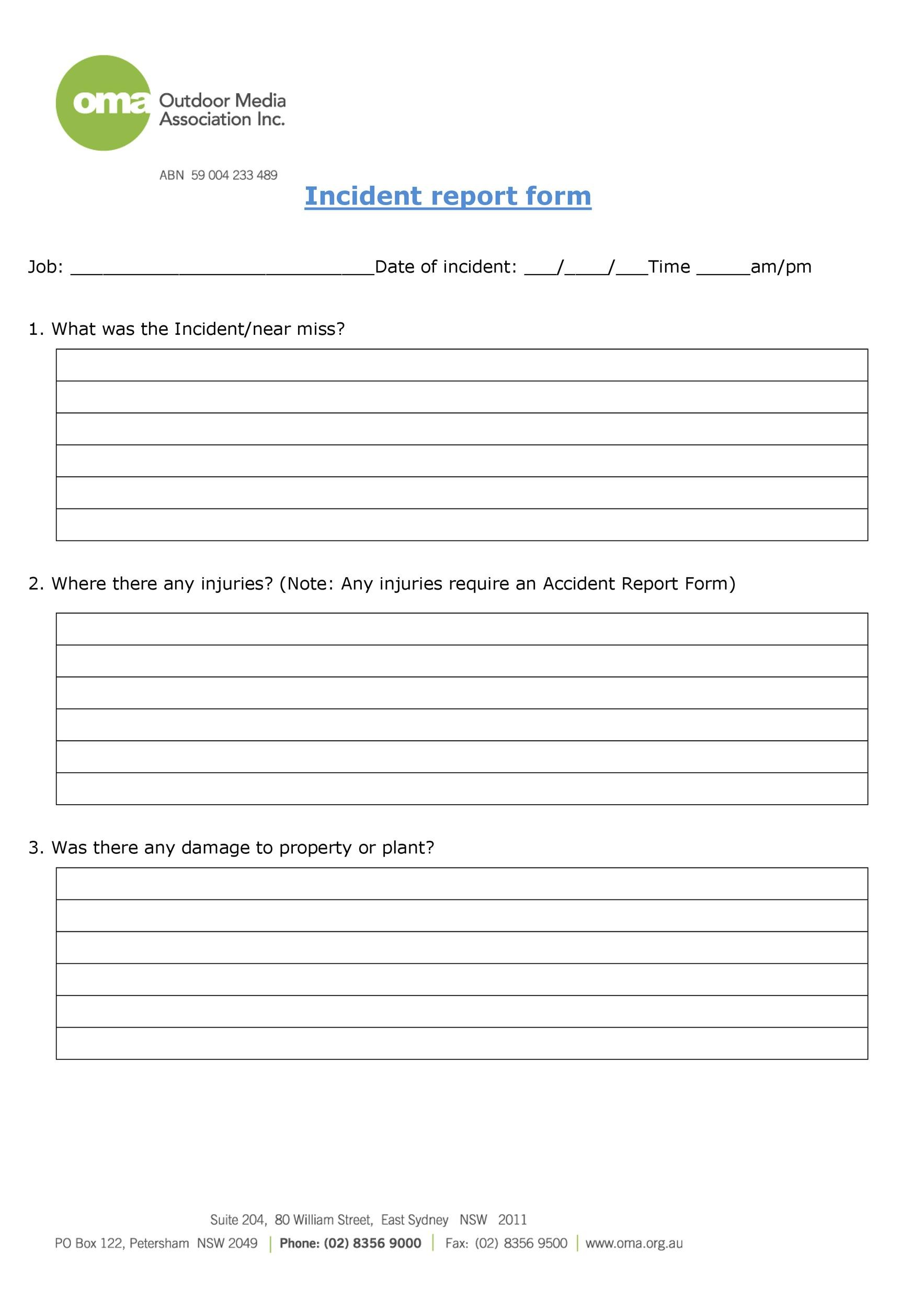 60 Incident Report Template Employee Police Generic