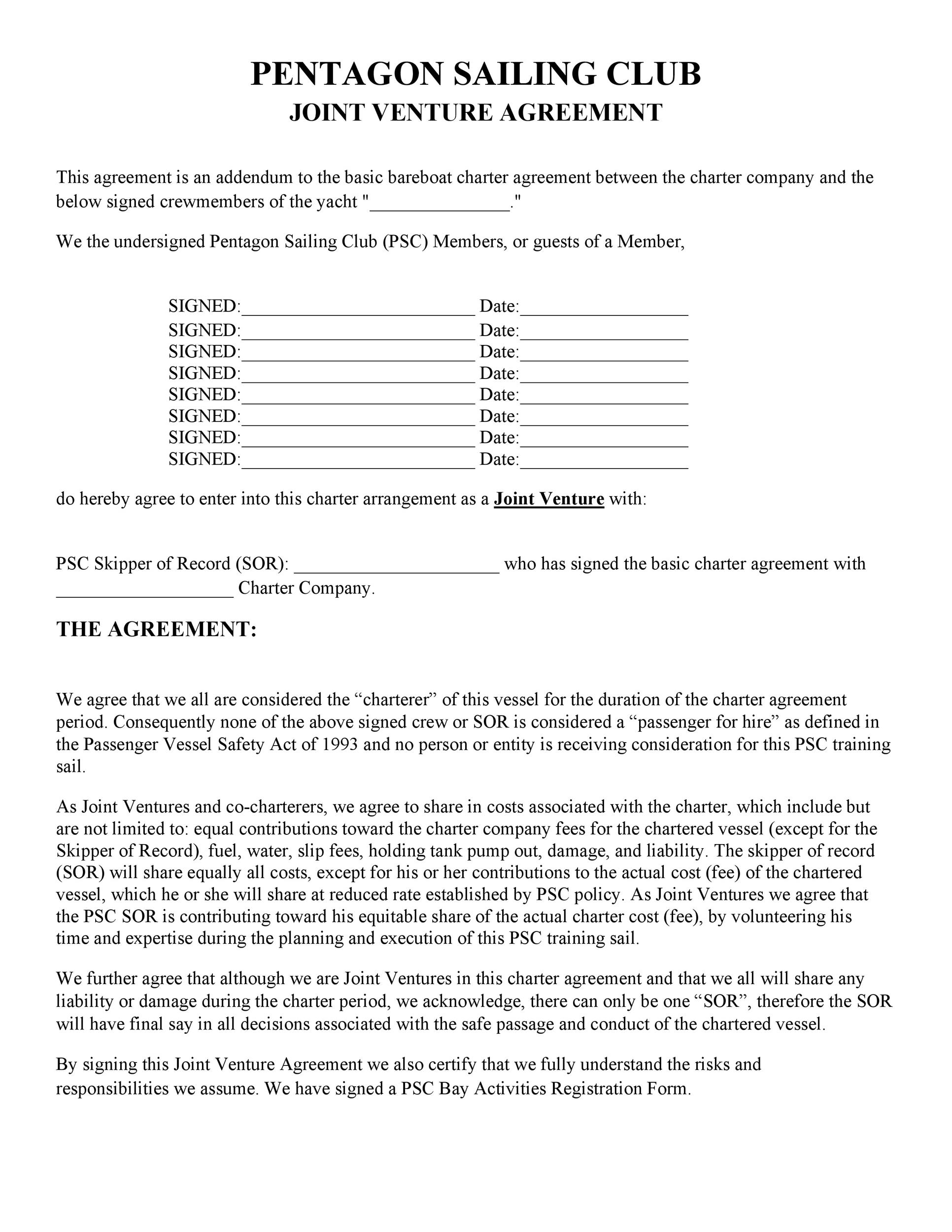 Bareboat Charter Agreement Template