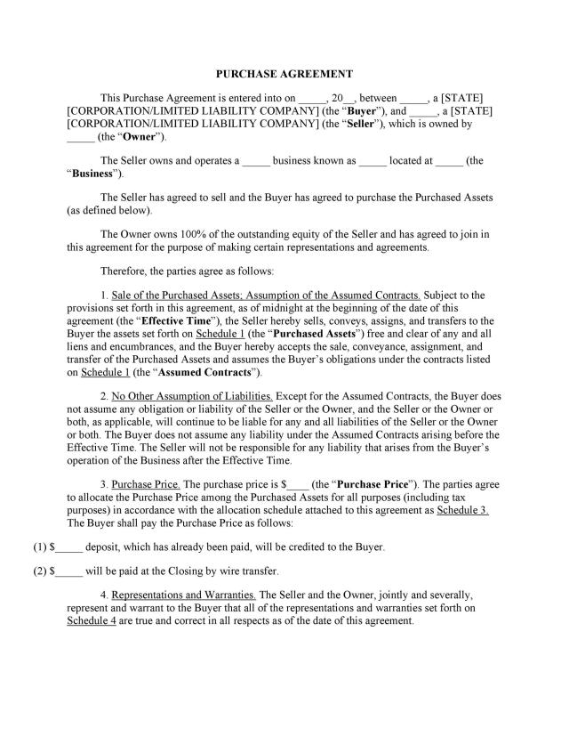 21 Simple Purchase Agreement Templates [Real Estate, Business]